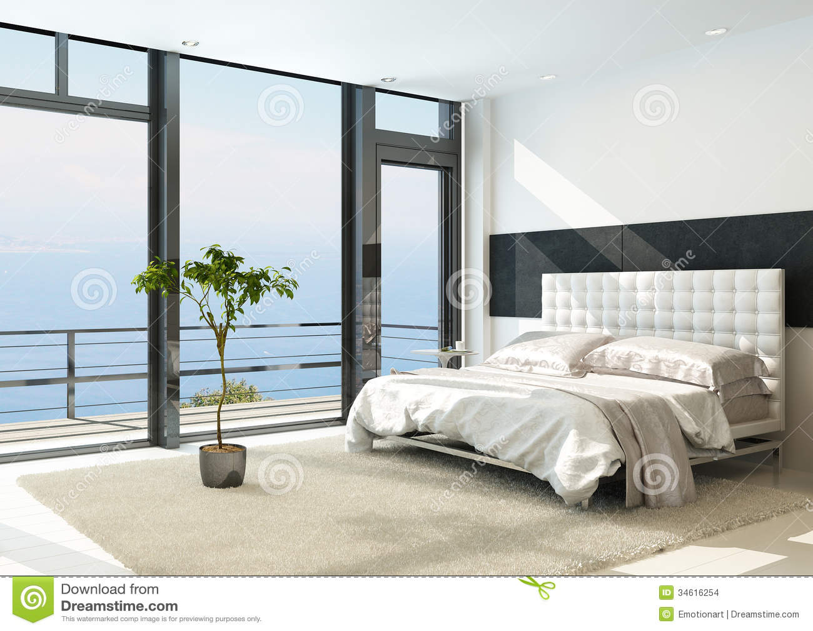 Contemporary modern sunny bedroom interior with huge windows