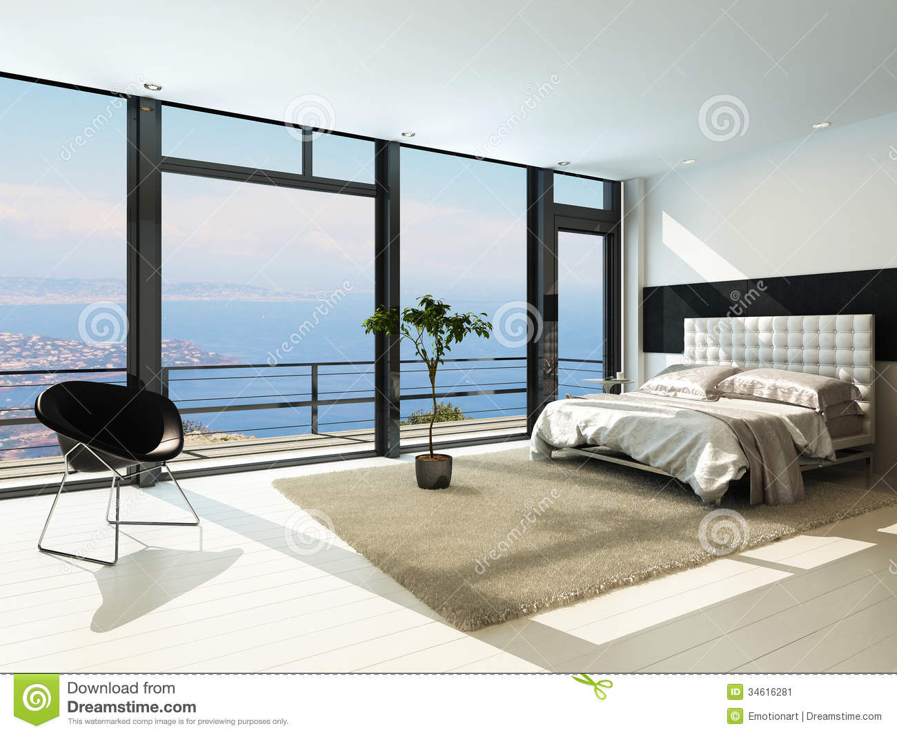 Contemporary Modern Sunny Bedroom Interior With Huge
