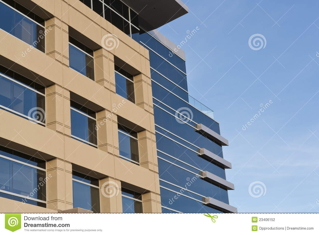 Contemporary Office Building With Stone Facade Stock Photo