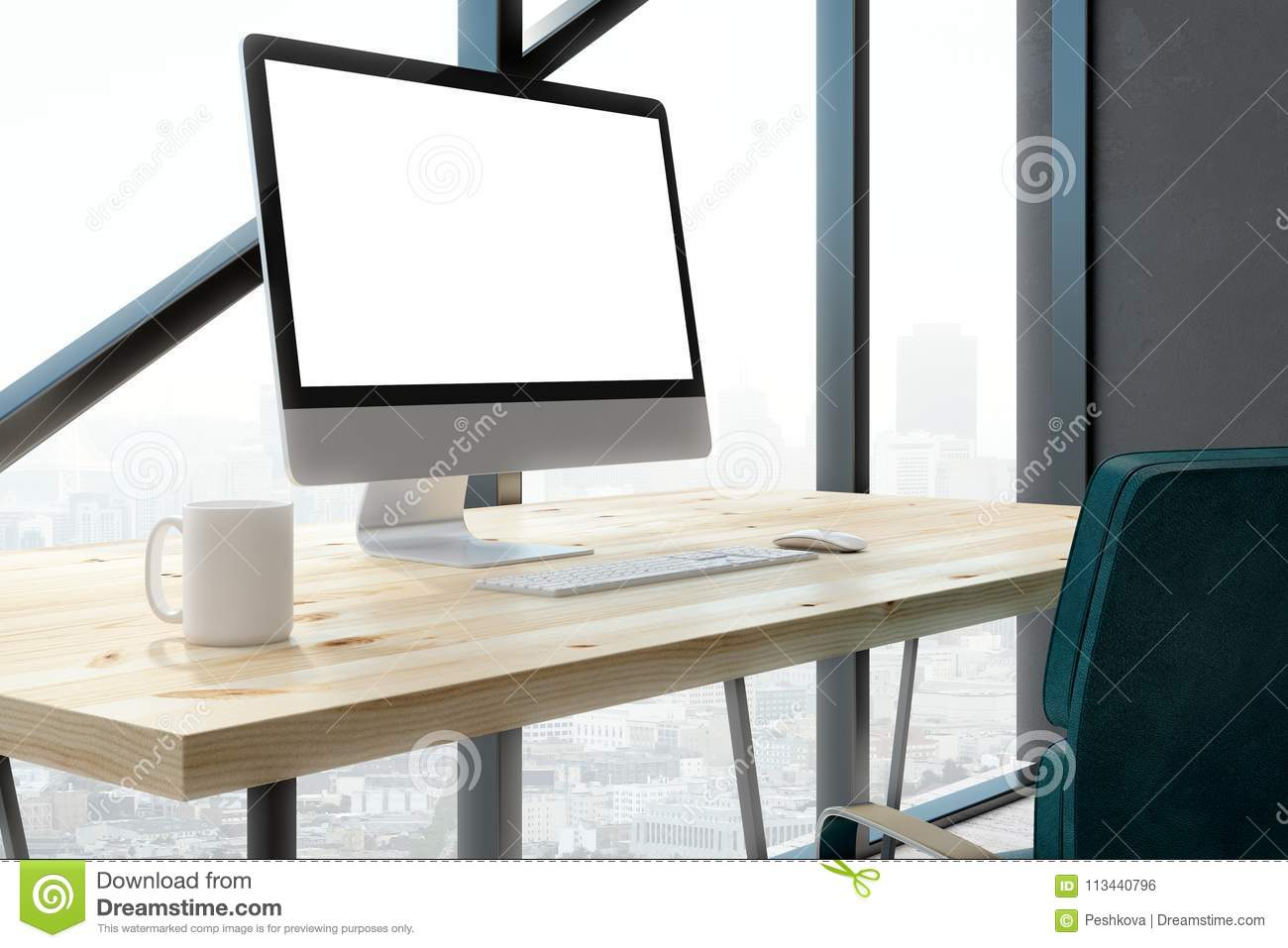 Contemporary Office With Empty White Computer Screen Stock Photo Image Of Real Office 113440796