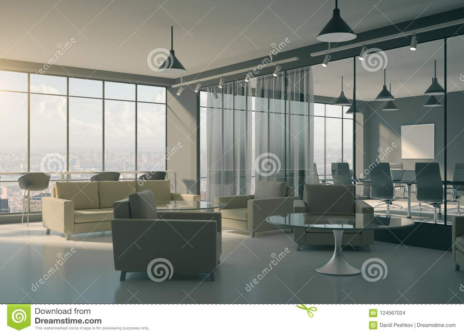 Contemporary Office Lobby Interior Stock Illustration Illustration