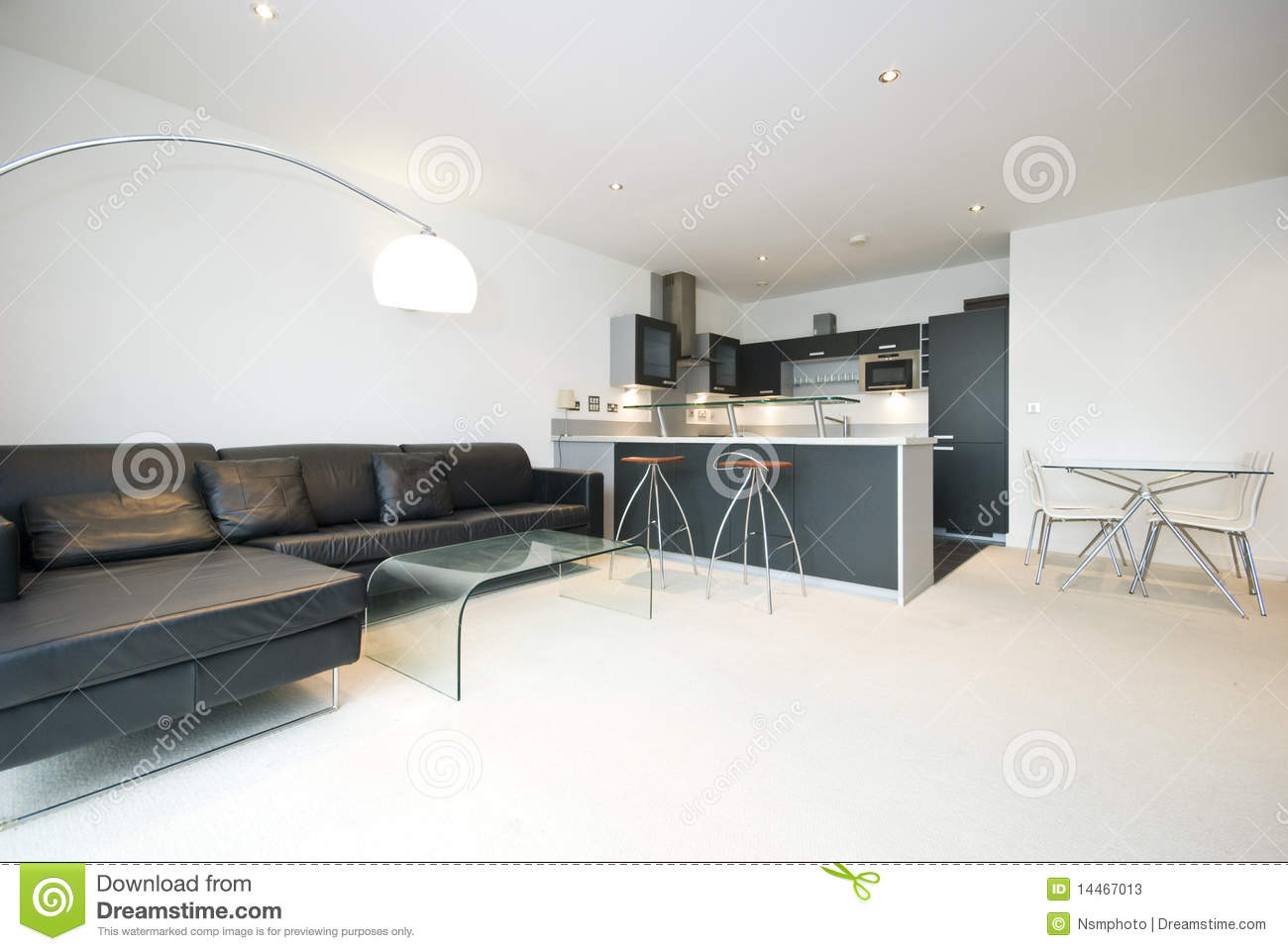 Contemporary Open Plan Living Room With Kitchen Stock Image Image
