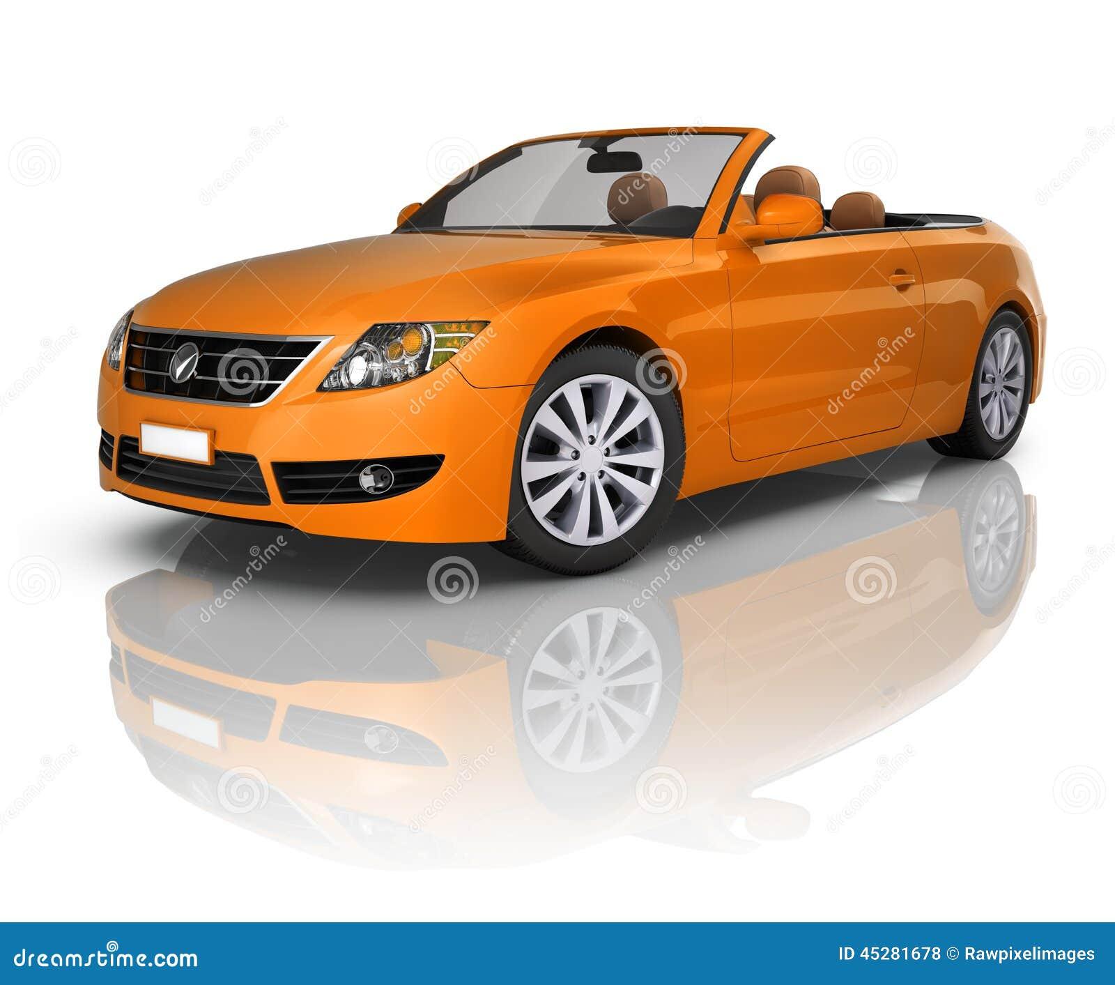 Contemporary Orange Elegant Convertible Car Stock Photo