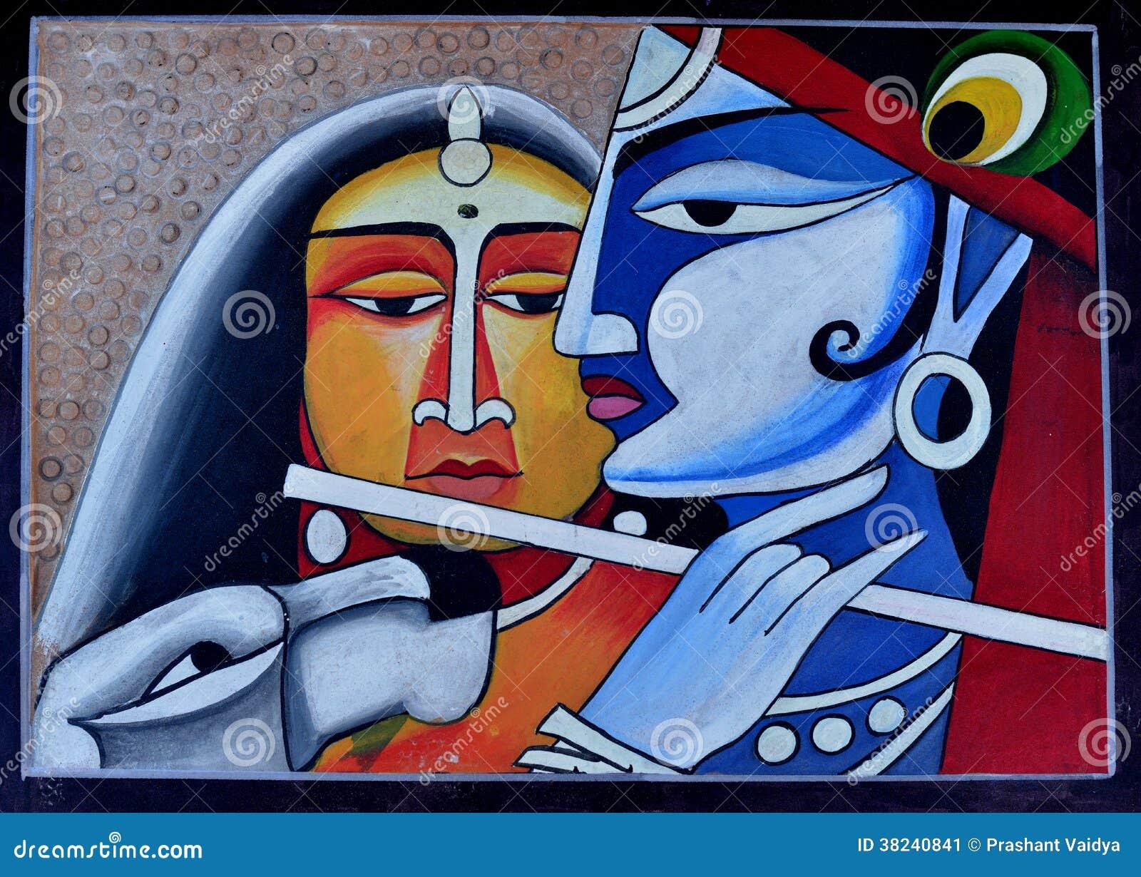 Contemporary Painting Of Radha Krishna Stock Illustration