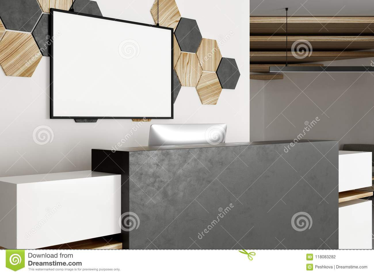 Contemporary Office Reception Throughout Contemporary Reception With Empty Banner Reception With Empty Banner Stock Illustration