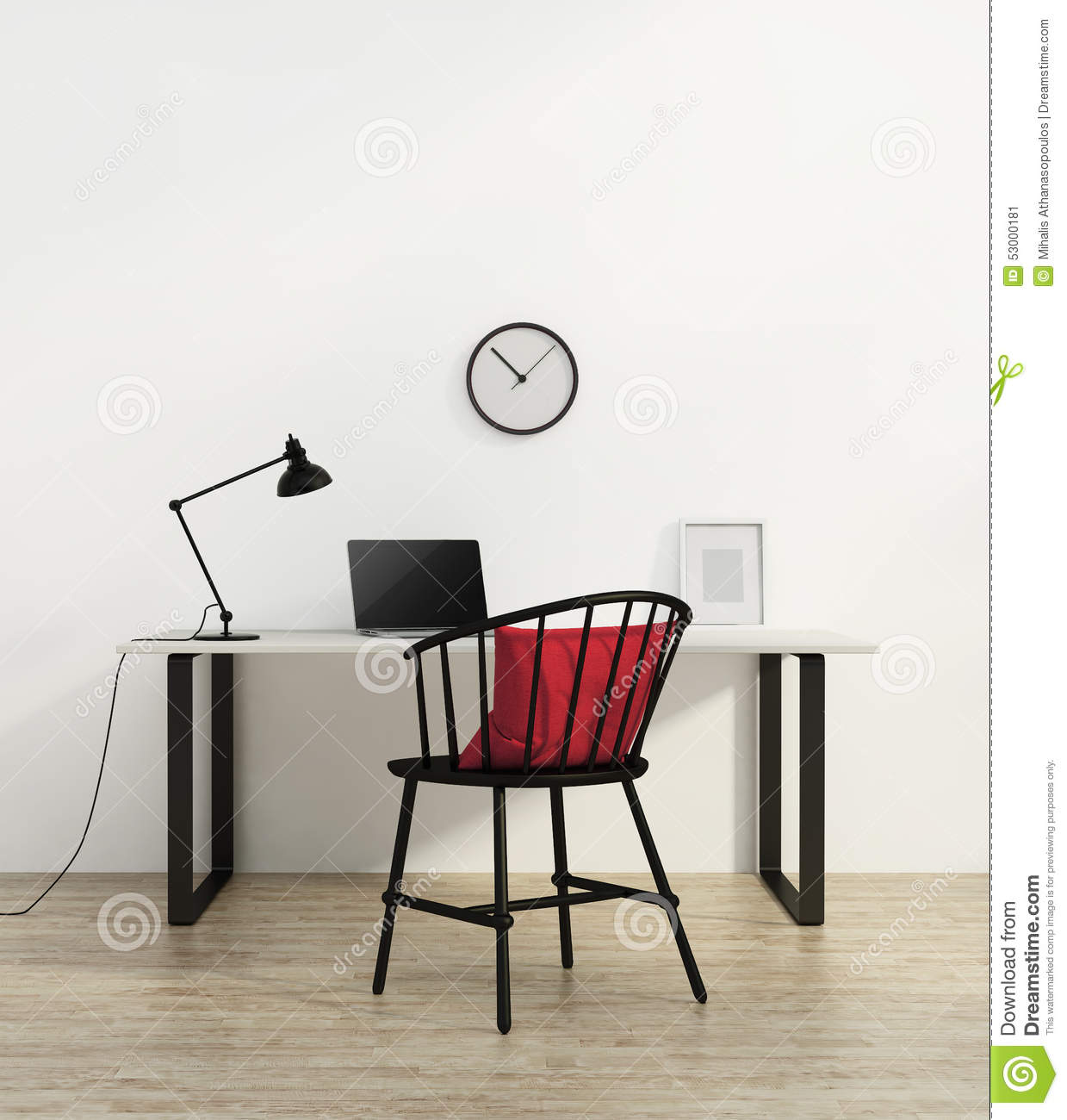 Minimal Home elegant minimal white home office with red chair stock