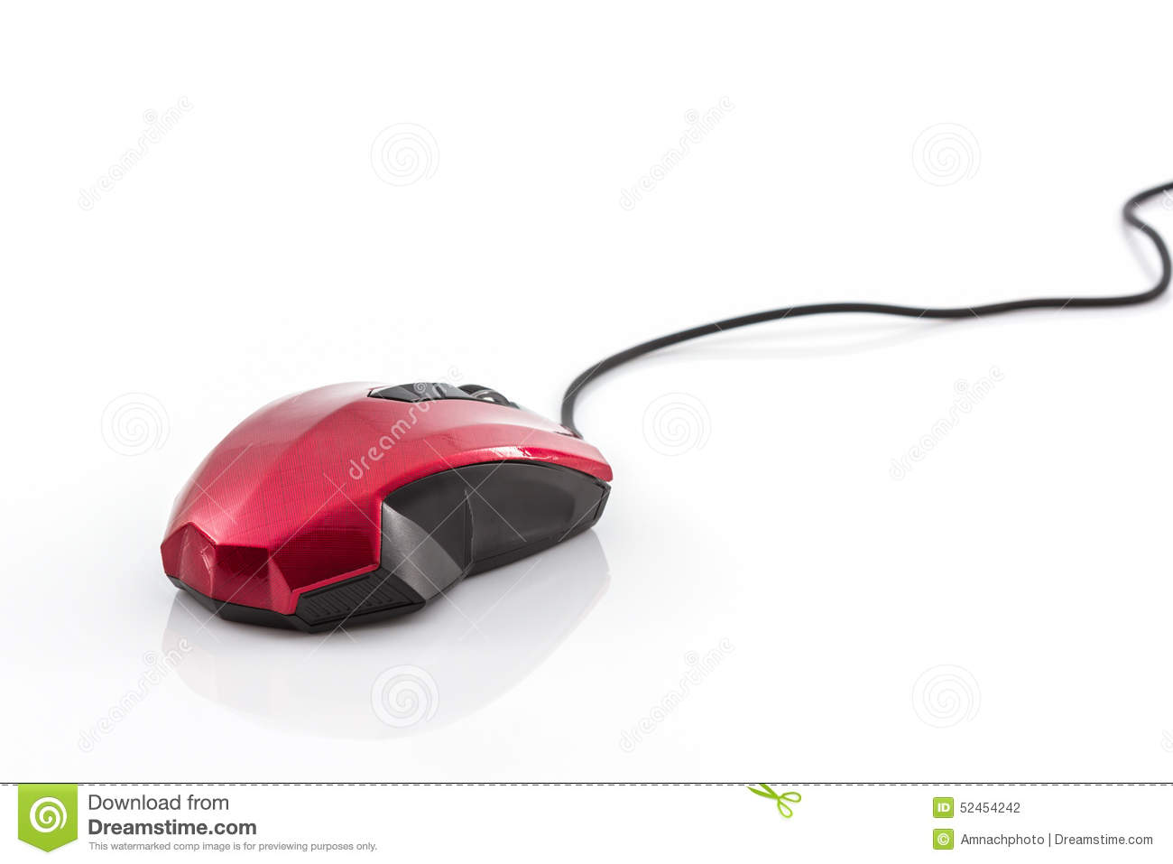 Contemporary red with black computer mouse .
