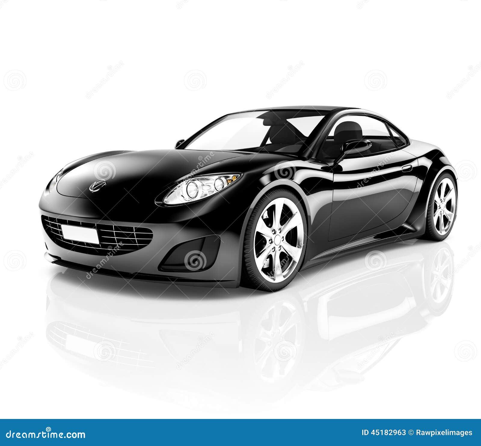 Contemporary Shiny Black Sport Car Royalty Free Stock