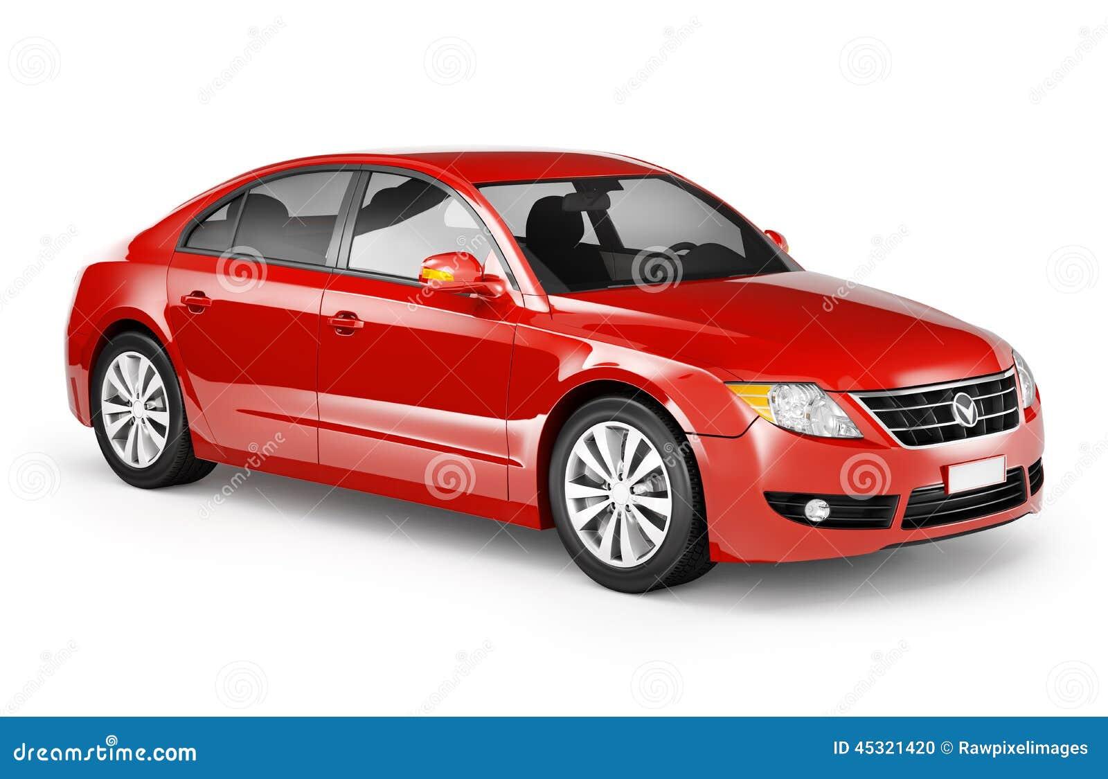 Contemporary Shiny Red Sedan Car Stock Photo Image 45321420