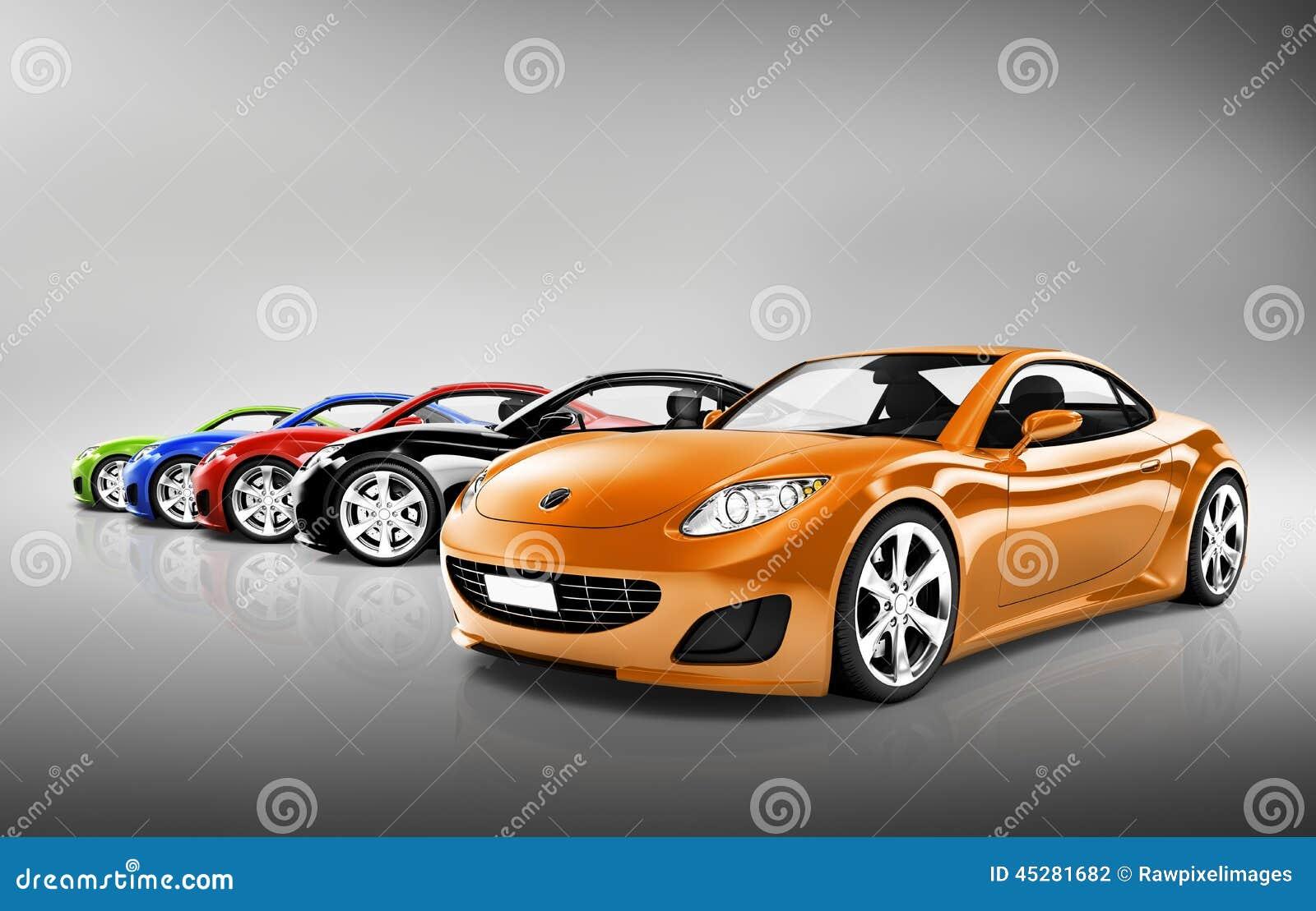 Contemporary Shiny Sports Car Collection Stock Photo