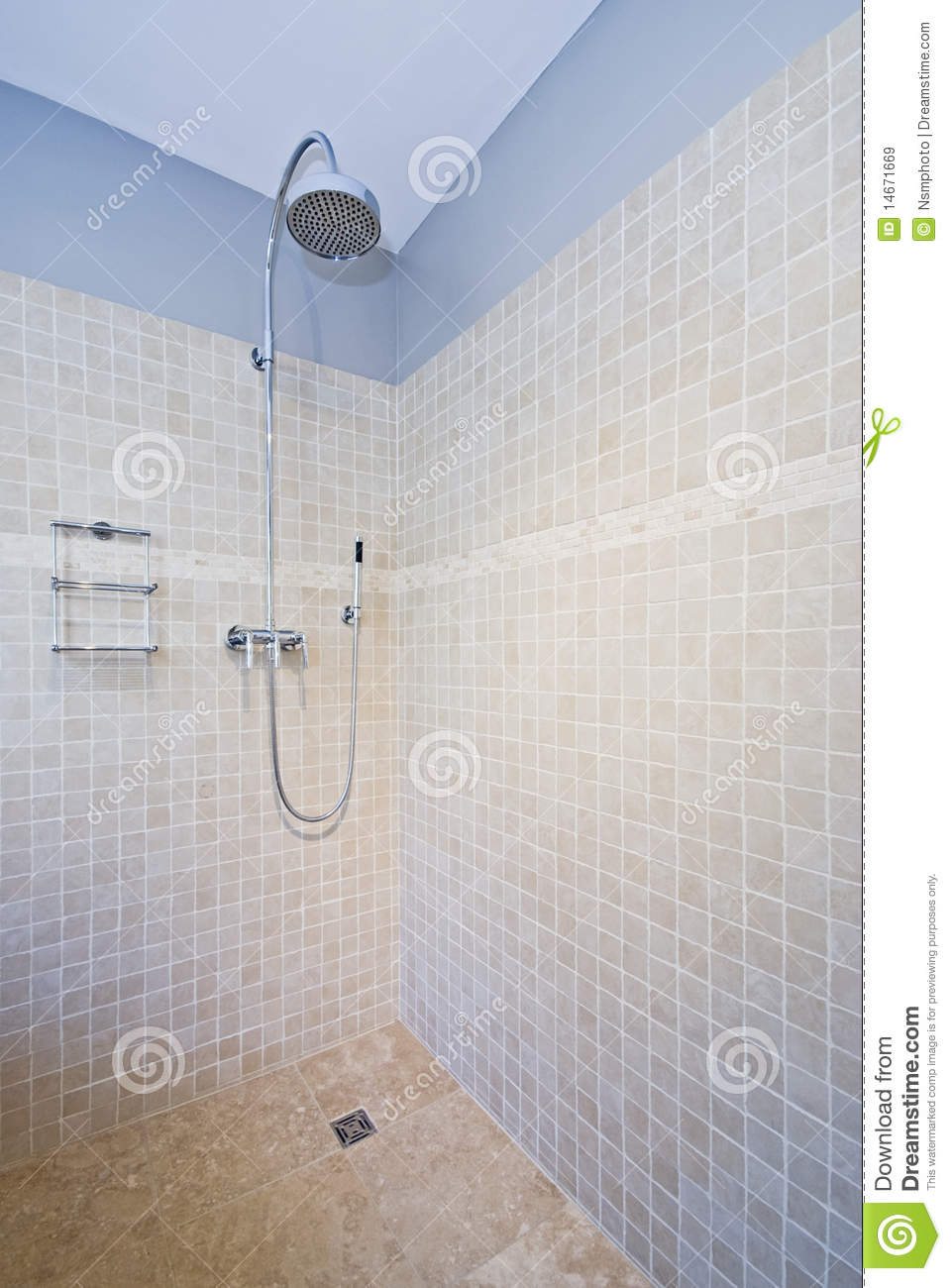 Contemporary Shower With Natural Stone Tiles Stock Image - Image of ...