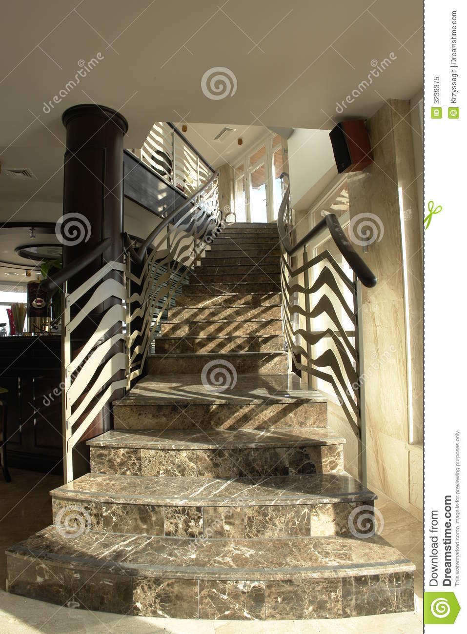 descending staircase with rail stock photo. Black Bedroom Furniture Sets. Home Design Ideas