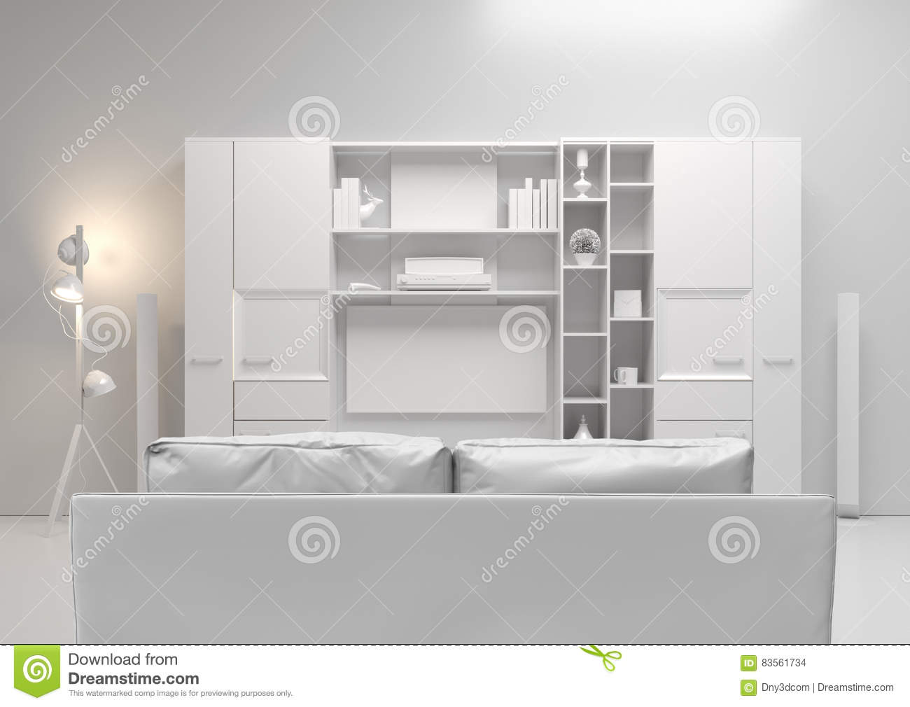 Contemporary style home audio system with tv and shelves in the living room sofa
