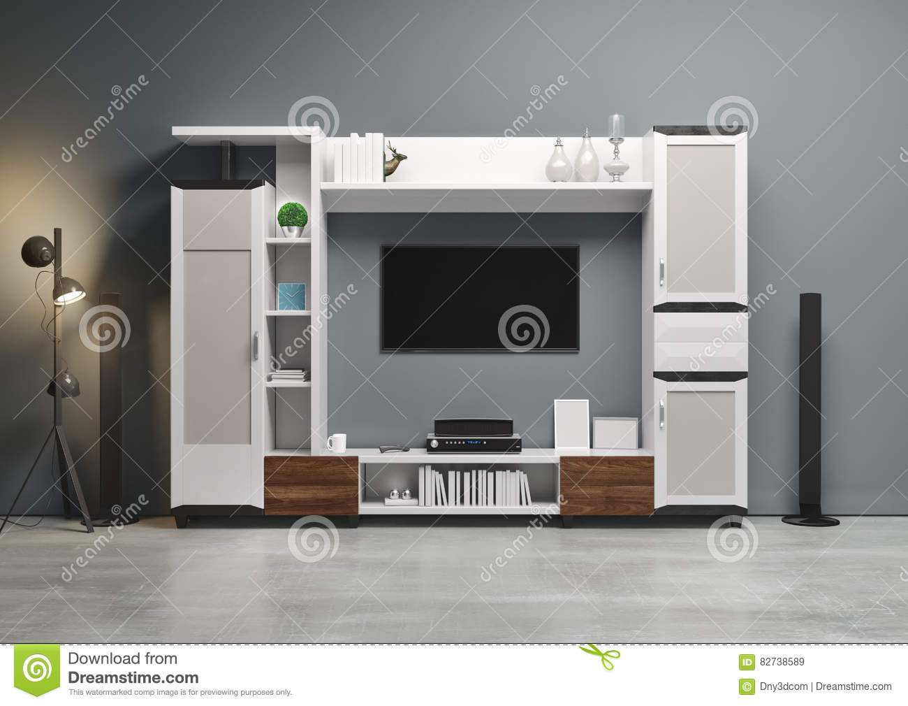 Contemporary style home audio system with tv and shelves in the living room stock photo
