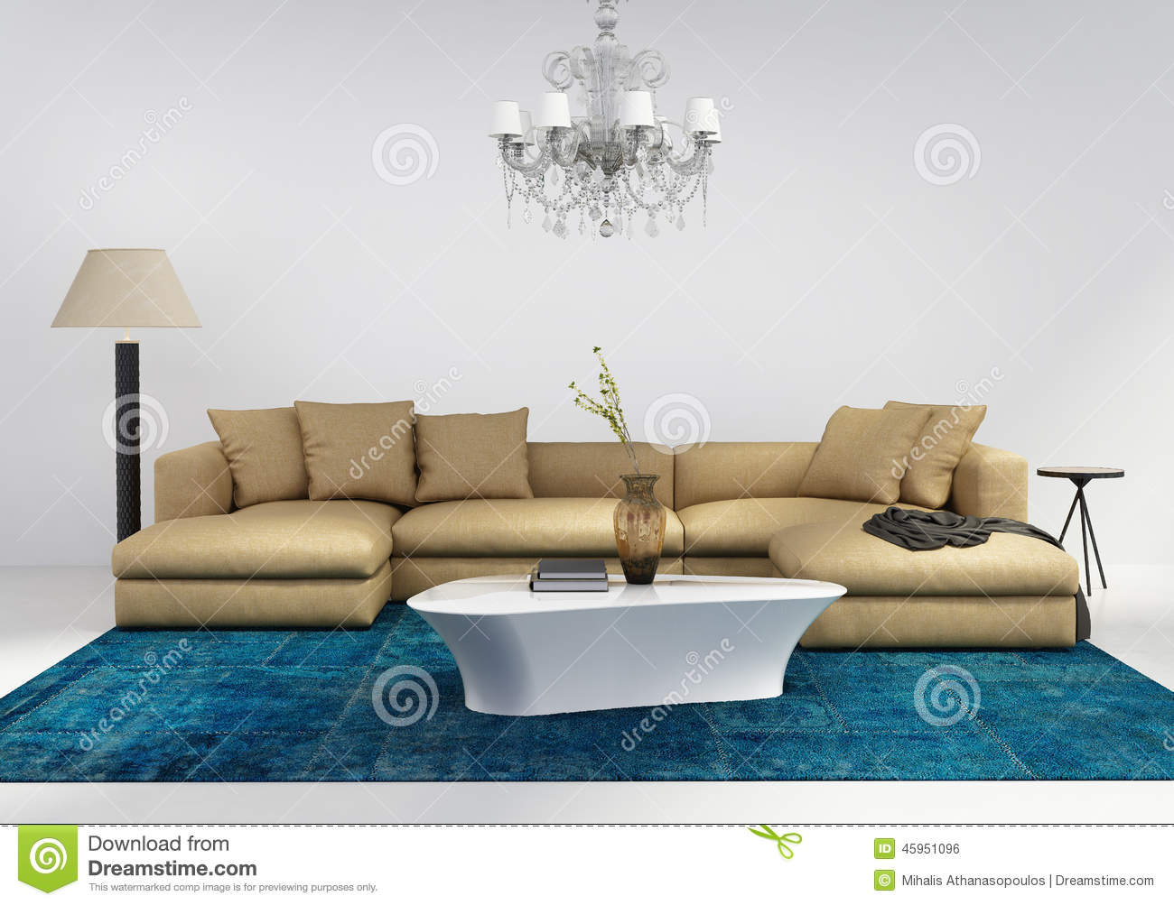 Contemporary Stylish Living Room With Blue Rug Stock Photo Image 45951096