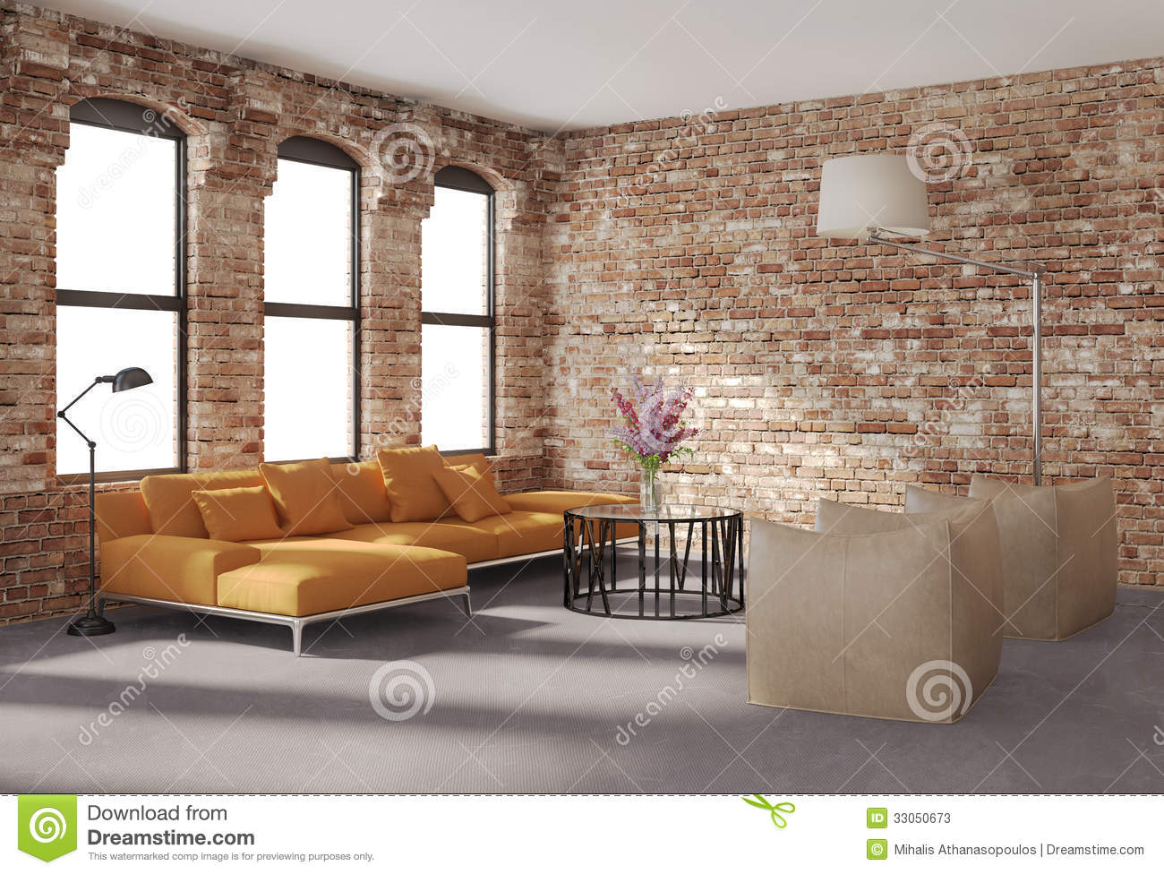 Contemporary stylish loft interior, brick walls, orange sofa stock ...