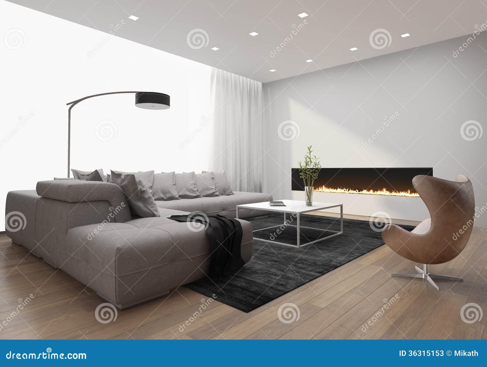 Contemporary stylish loft interior, with modern fireplace