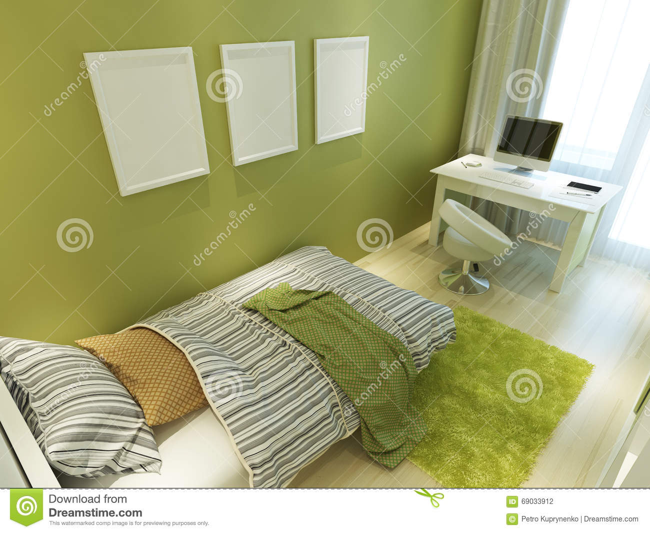 Contemporary Teen Room For Green Color With A Bed And A Desk. Stock ...