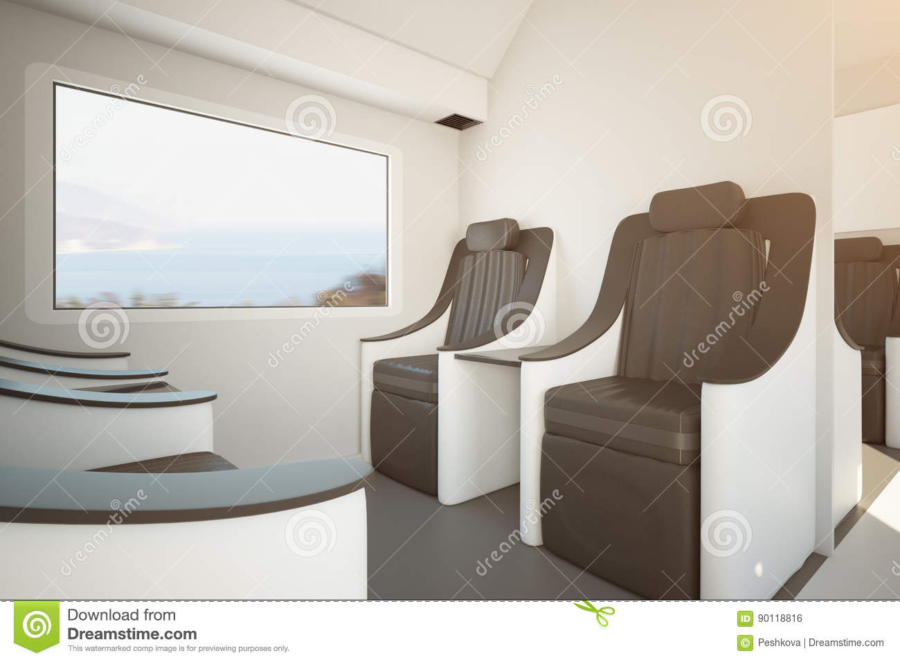 Contemporary train seats stock illustration image of for Window side seating