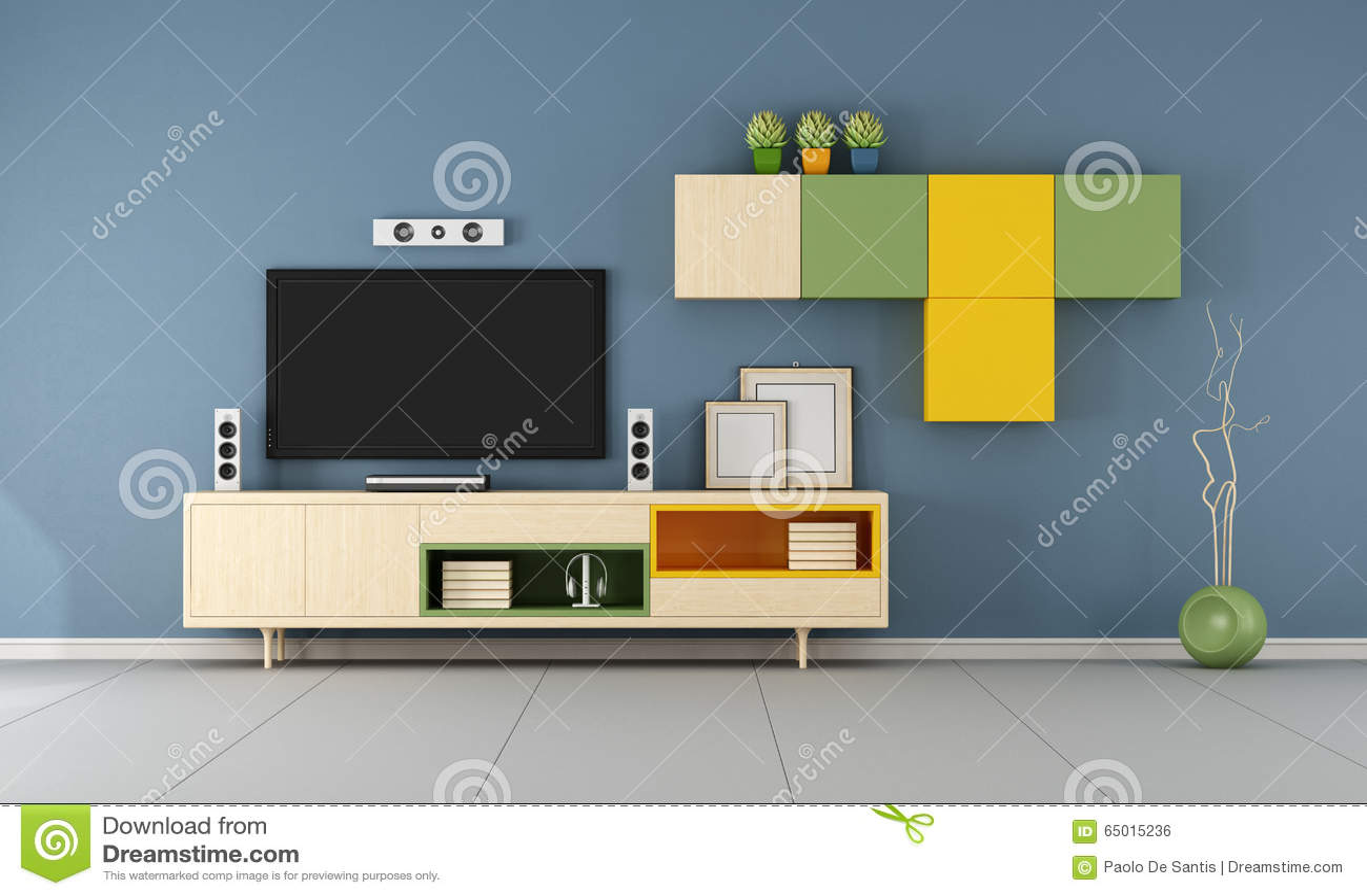 Contemporary Tv Wall Unit In Ablue Room Stock Illustration Illustration Of Green Blue 65015236