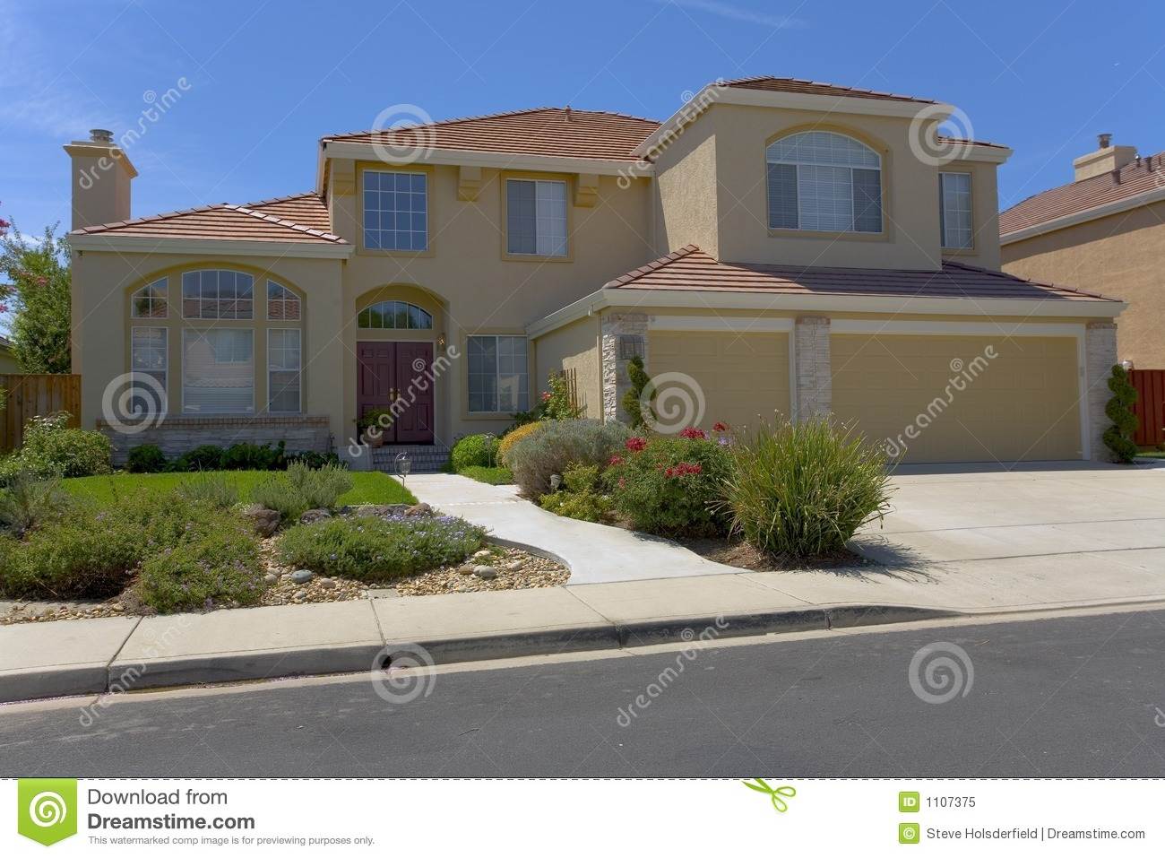Contemporary Two Story Stucco Home Stock Image Image