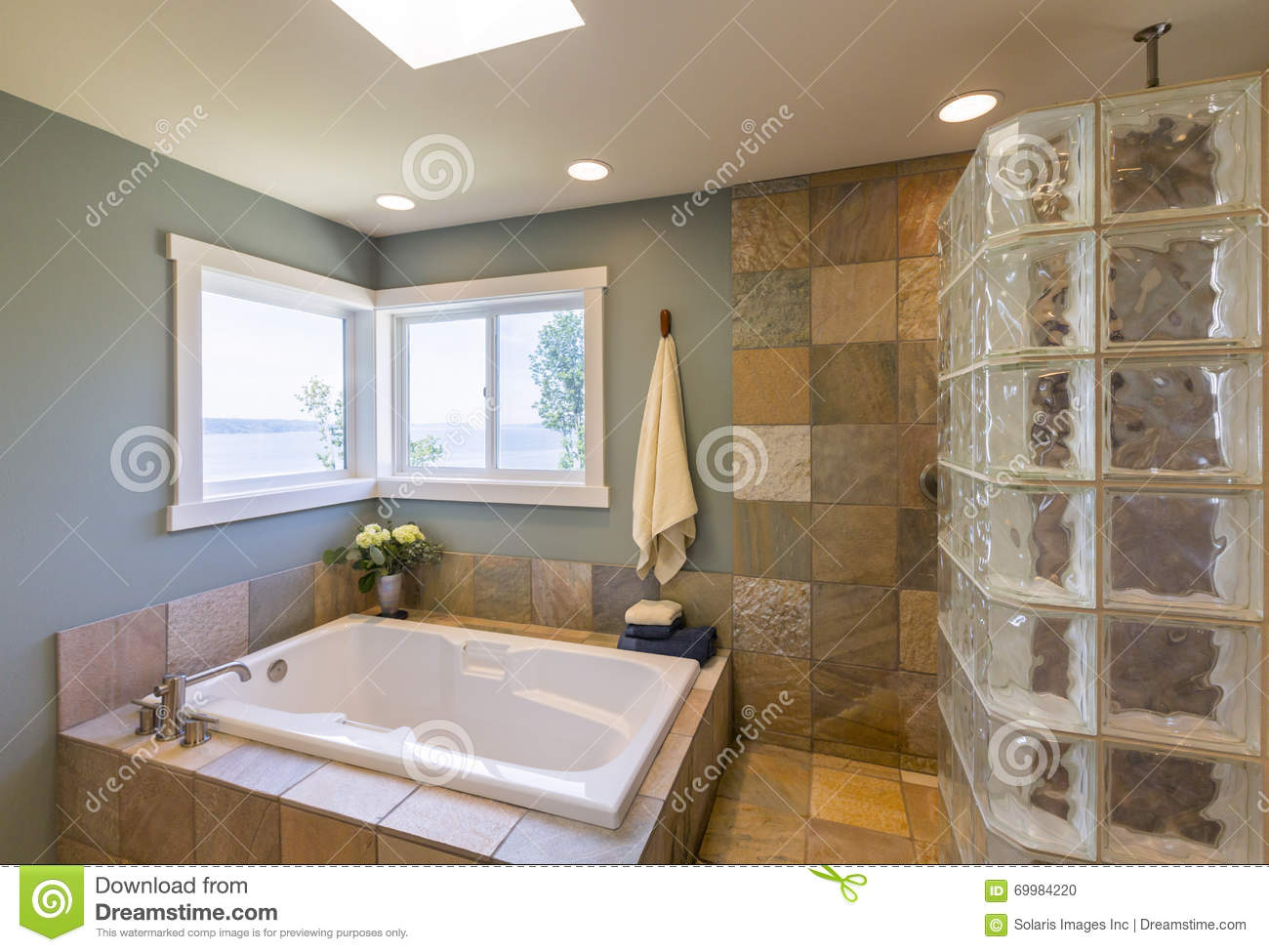Contemporary Upscale Home Spa Bathroom Interior With Acrylic Soaking ...
