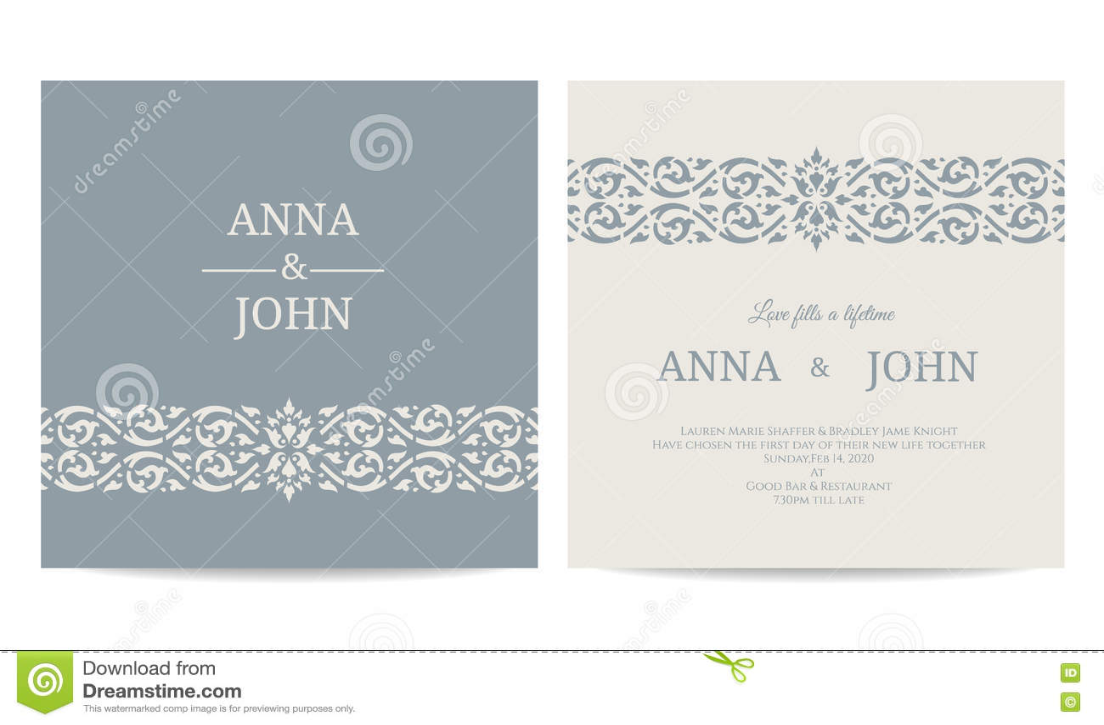 contemporary wedding invitations card line art gray blue tone