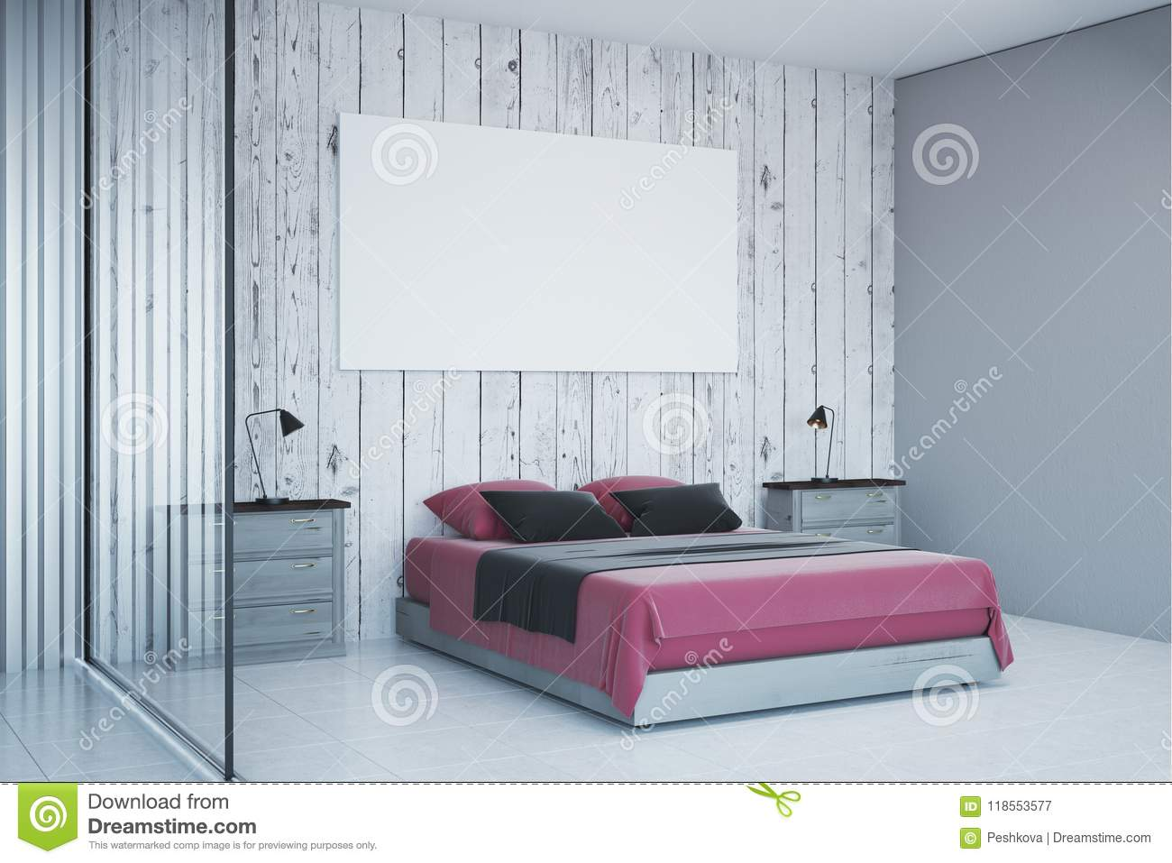 Contemporary White Bedroom With Empty Poster Stock Illustration ...