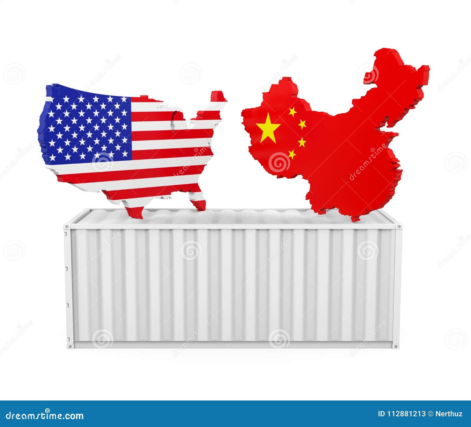 Contenedor para mercancías con el mapa de Estados Unidos y de China aislado Concepto de la guerra comercial