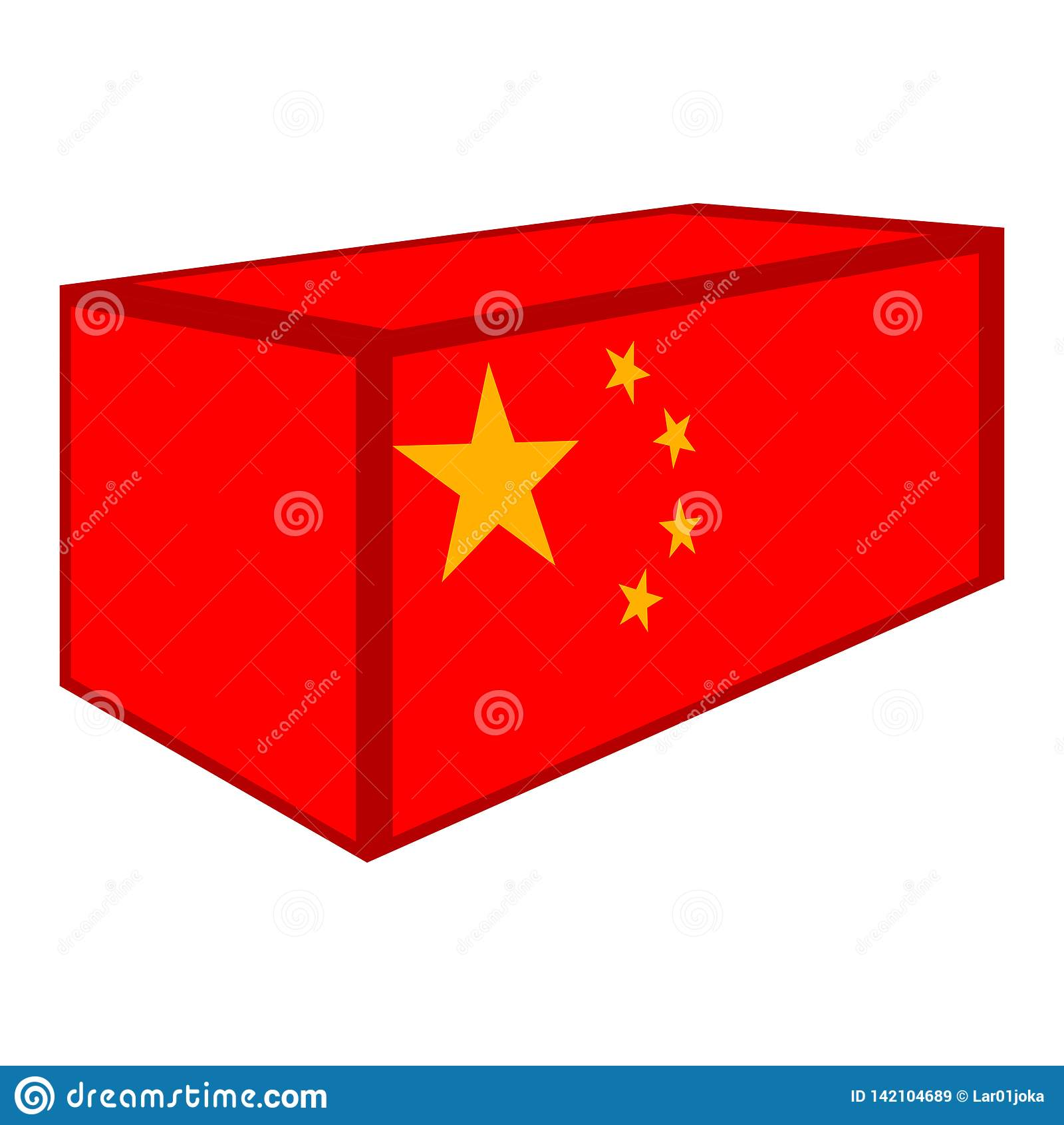 Conteneur avec le drapeau de la Chine
