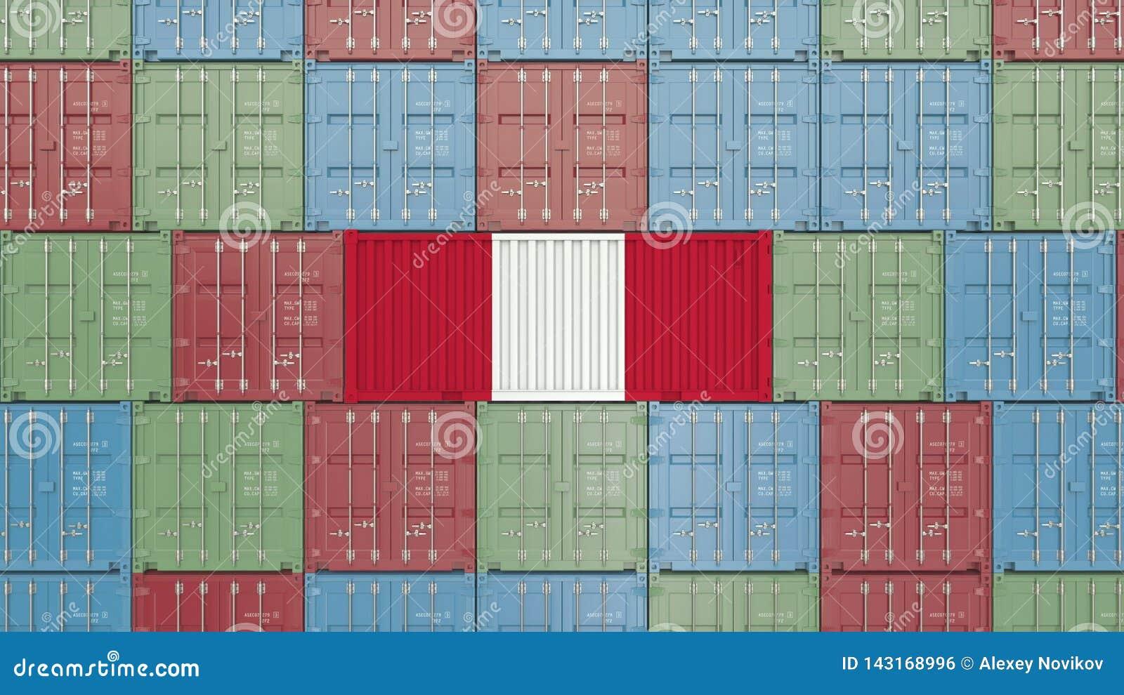 Conteneur avec le drapeau du P?rou Les P?ruviens importent ou exportent le rendu 3D relatif