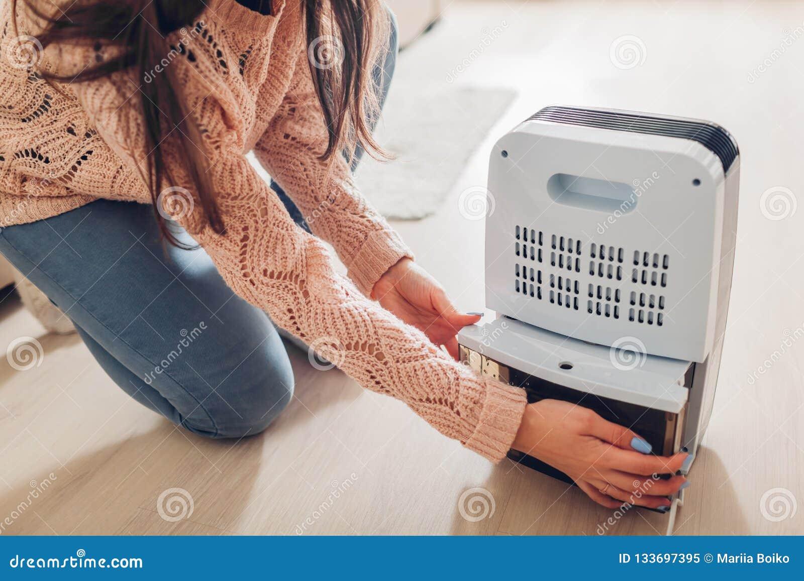 Conteneur changeant de l eau de femme de déshumidificateur à la maison Humidité en appartement Dessiccateur moderne d air