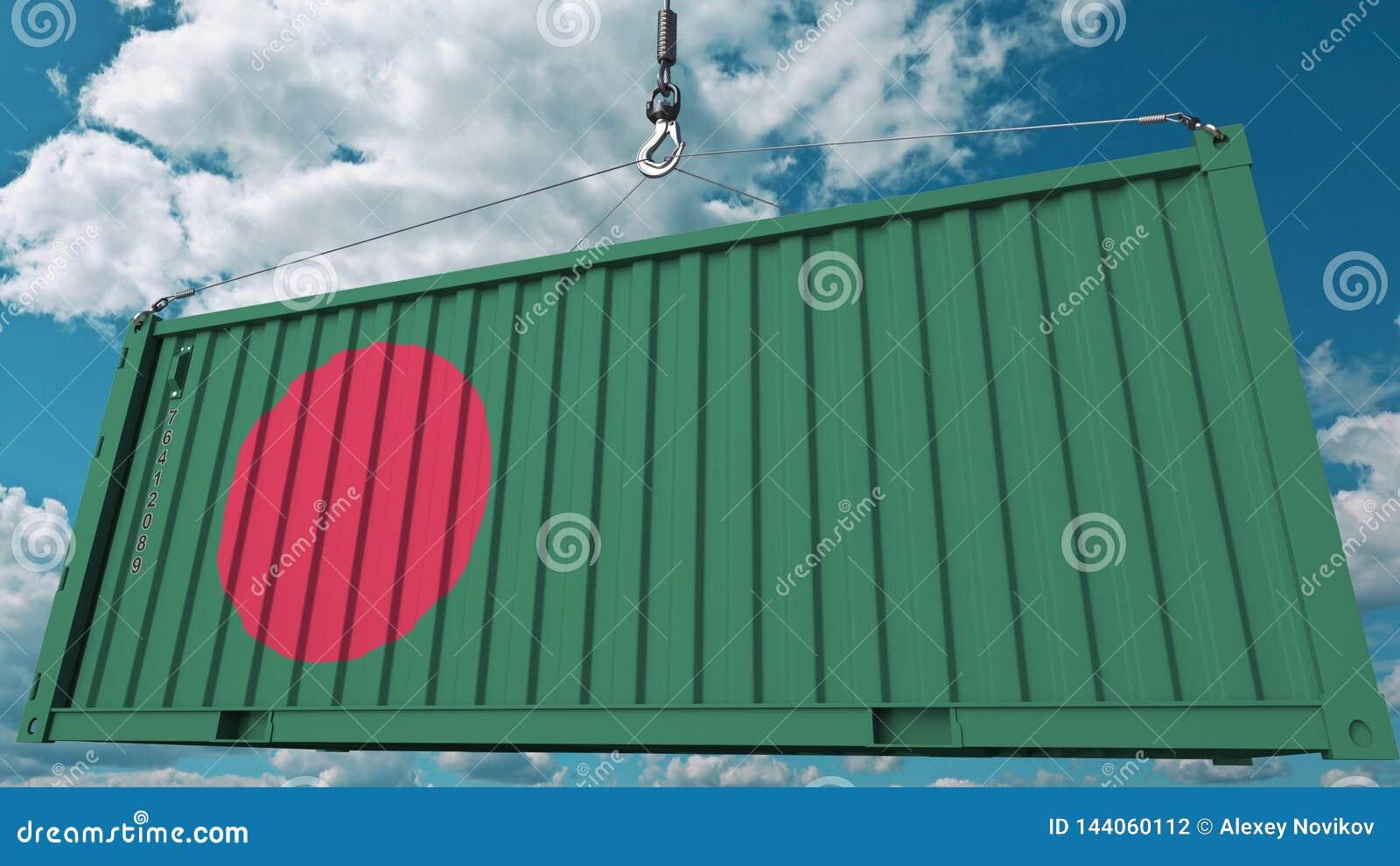 Conteneur de cargaison de chargement avec le drapeau du Bangladesh L importation bangladaise ou l exportation a rapporté le rendu
