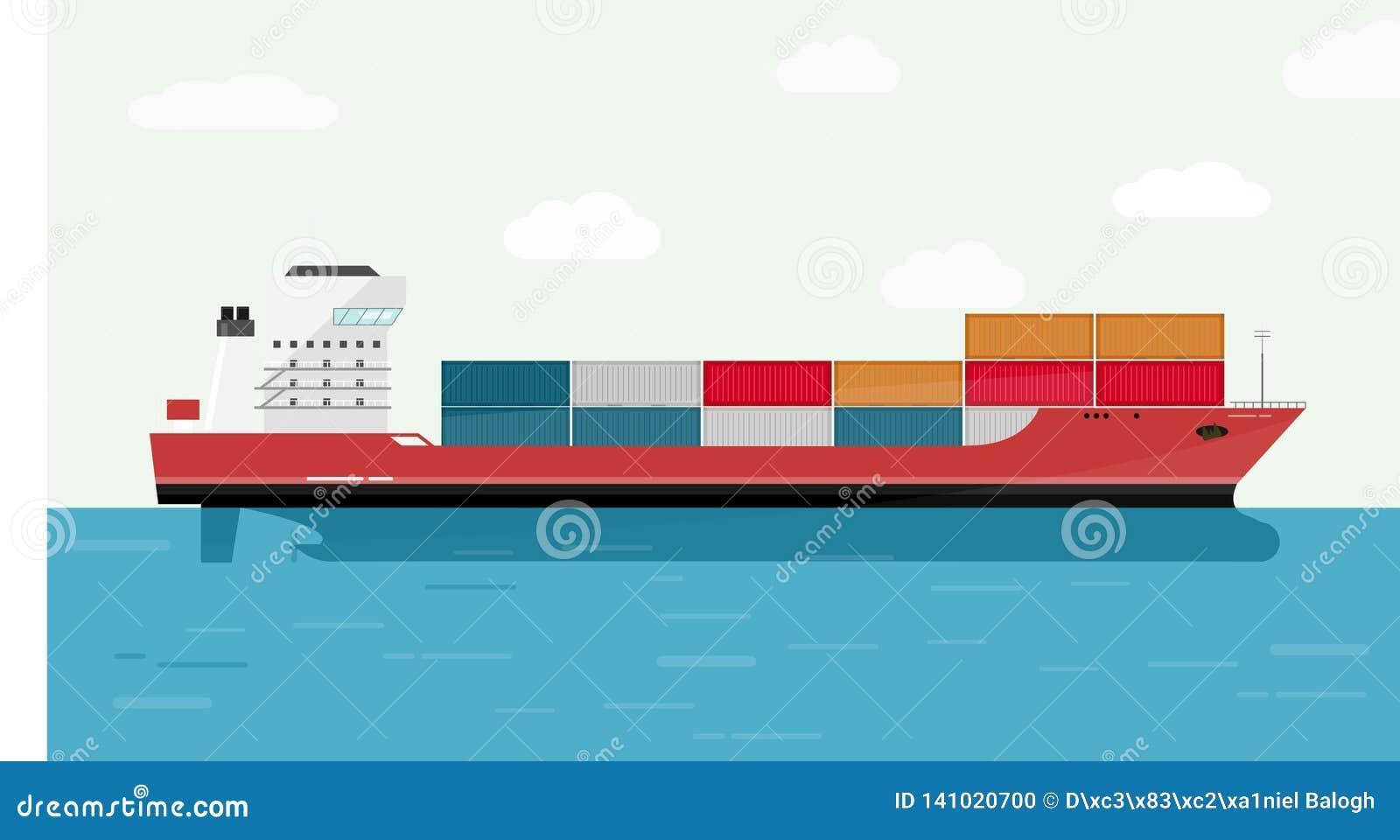 Conteneur de cargo dans le transport d océan, fret de expédition Eransportation Illustration de vecteur