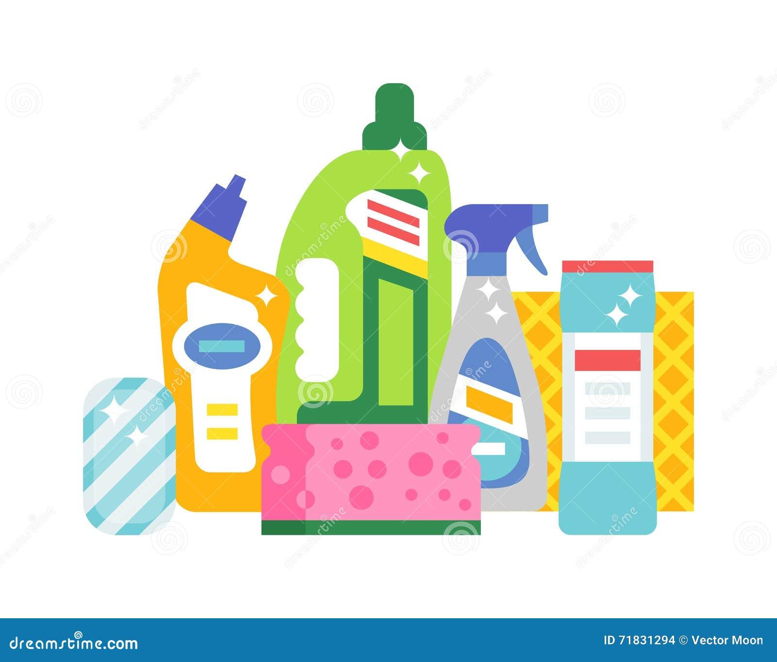 Contenga la higiene de la limpieza y los iconos planos del - Imagenes de limpieza de casas ...