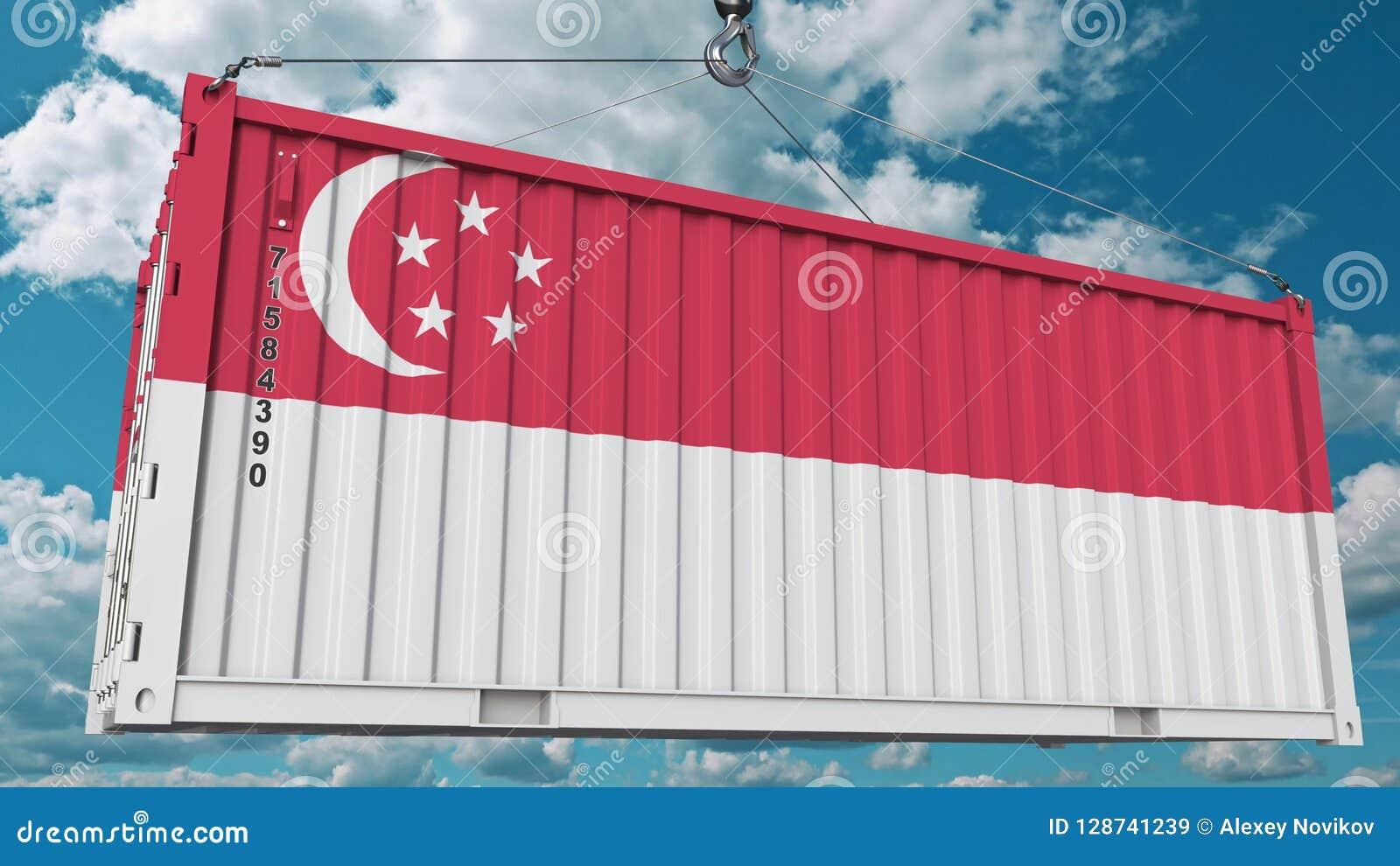 Contenitore con la bandiera di Singapore L importazione o l esportazione di Singapore ha collegato la rappresentazione concettual