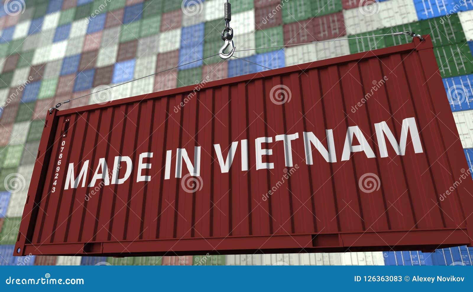 Contenitore di caricamento con FATTO nel titolo del VIETNAM Rappresentazione relativa vietnamita 3D dell esportazione o dell impo