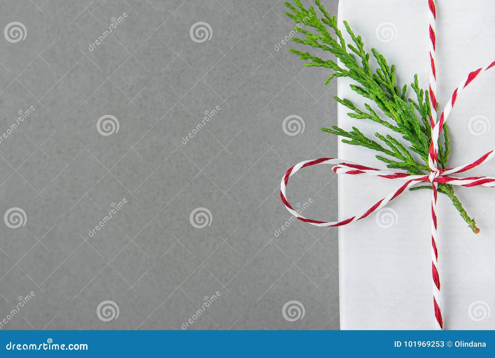 Contenitore di regalo bianco elegante legato con il ramoscello rosso del ginepro di verde del nastro Vendita di compera dei prese