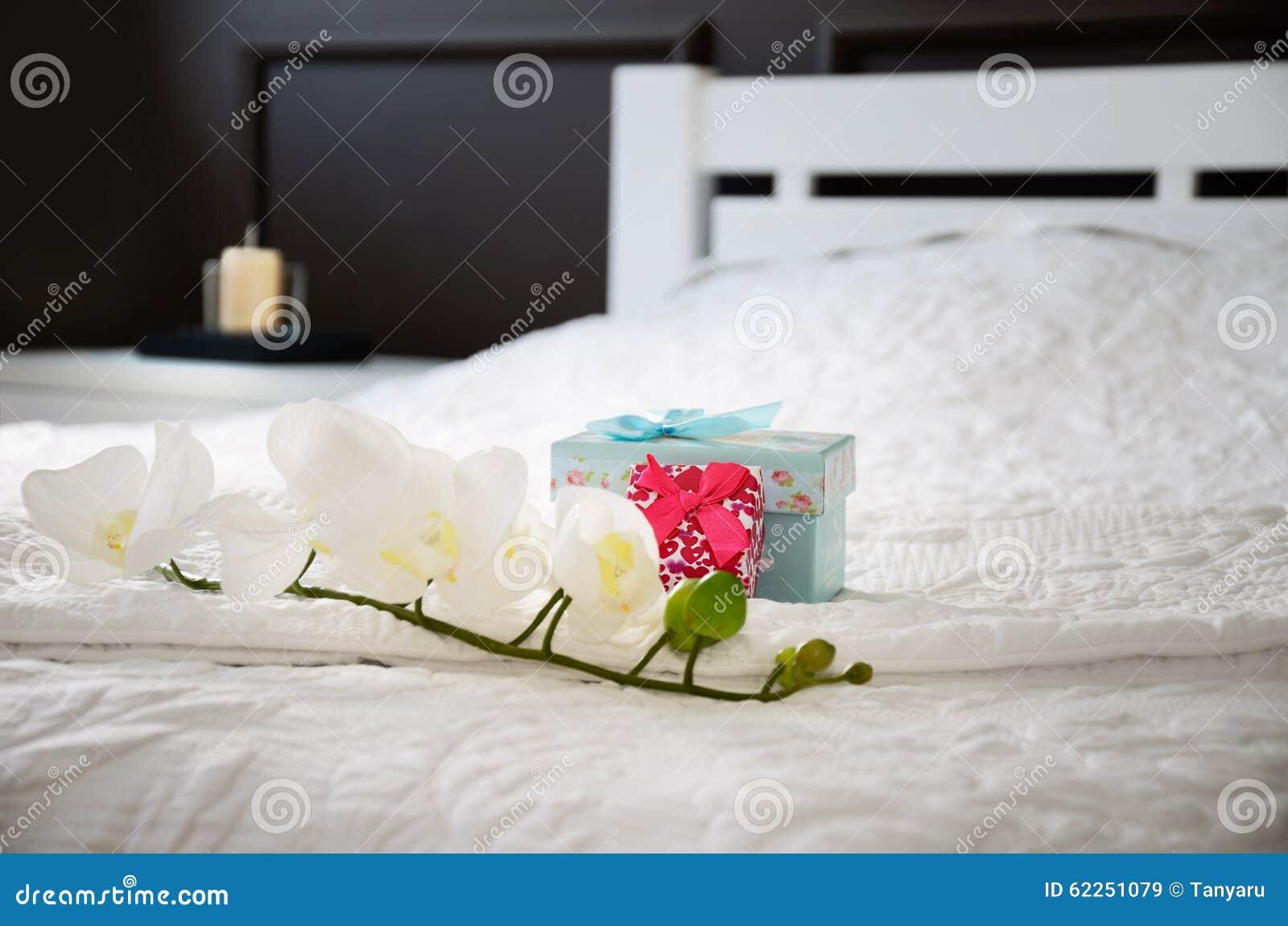 contenitori di fiore e di regalo dell'orchidea sul letto nella