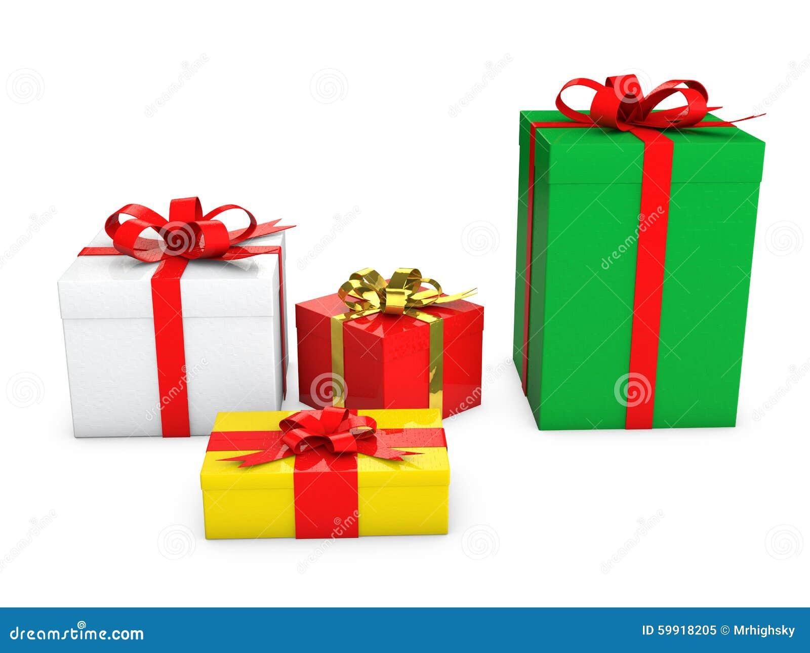 Contenitori di regalo variopinti 3d