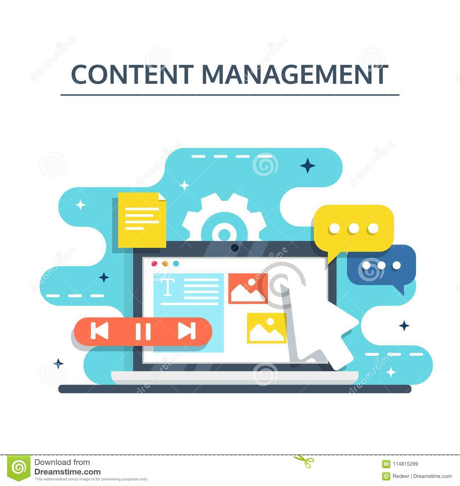 Content Management und Blogging Konzept im flachen Design Schaffung, Marketing und Teilen von digitalem - vector Illustration