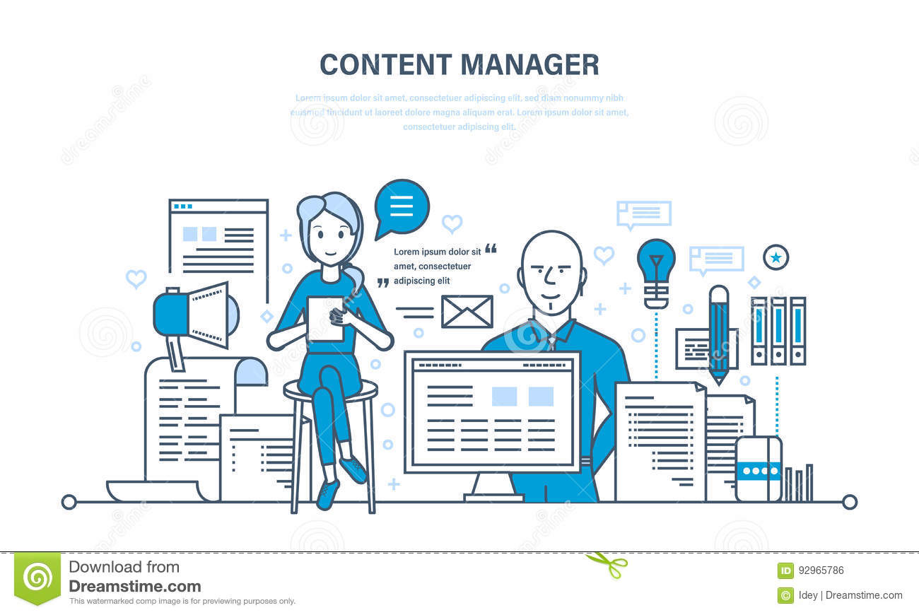 Content manager. Modern technologies, work on writing, editing, processing text.