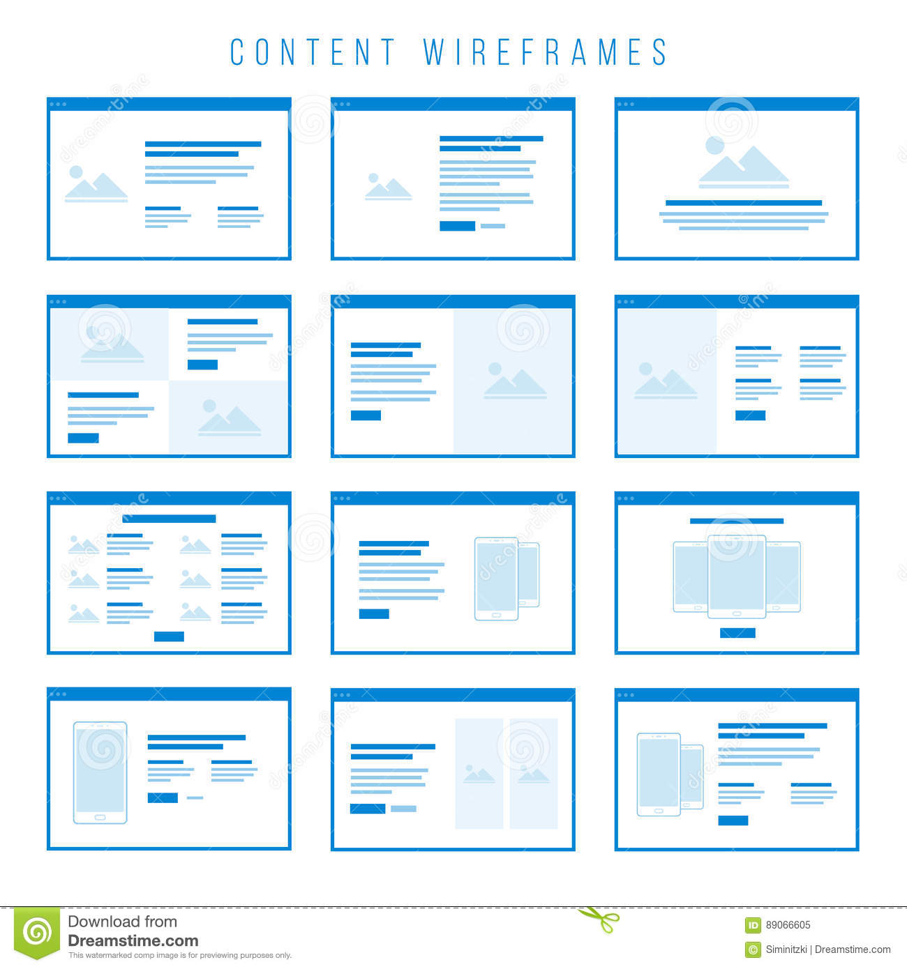 Content Wireframe Components For Prototypes Stock Vector