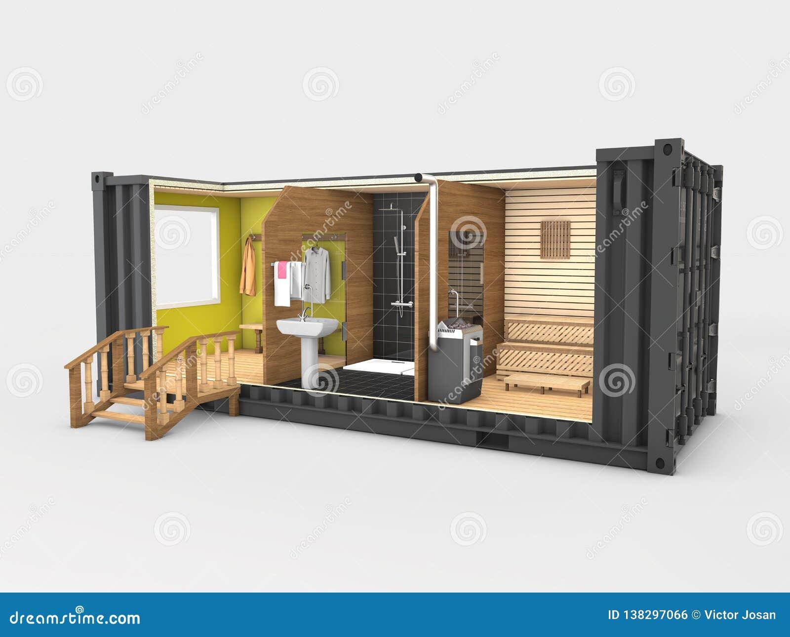Contentor velho convertido na sauna, cinza 3d isolado ilustração