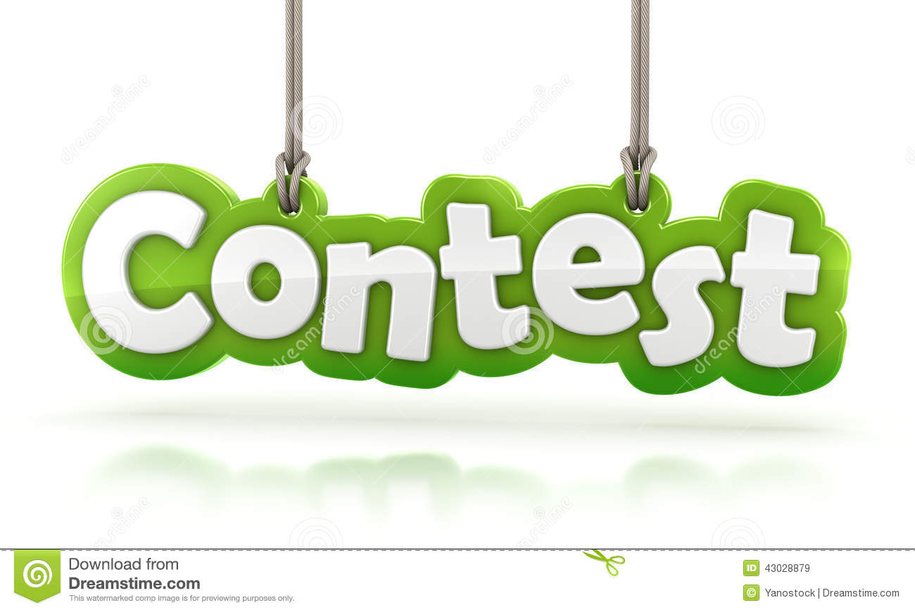 contest green word text hanging on white background stock