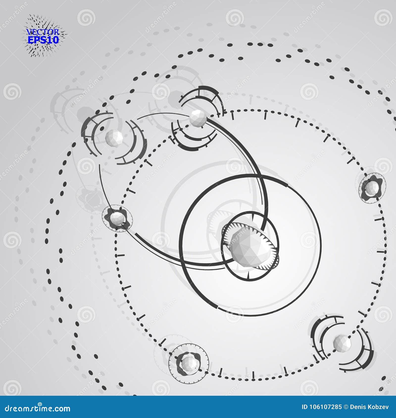 Contesto di vettore di tecnologia di ingegneria 3d Piano tecnico futuristico, meccanismo Schema meccanico monocromatico, sommario