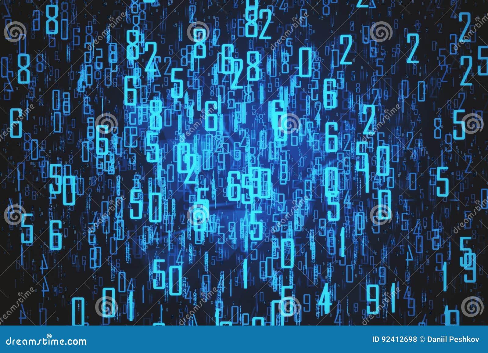 Contexto azul com dígitos