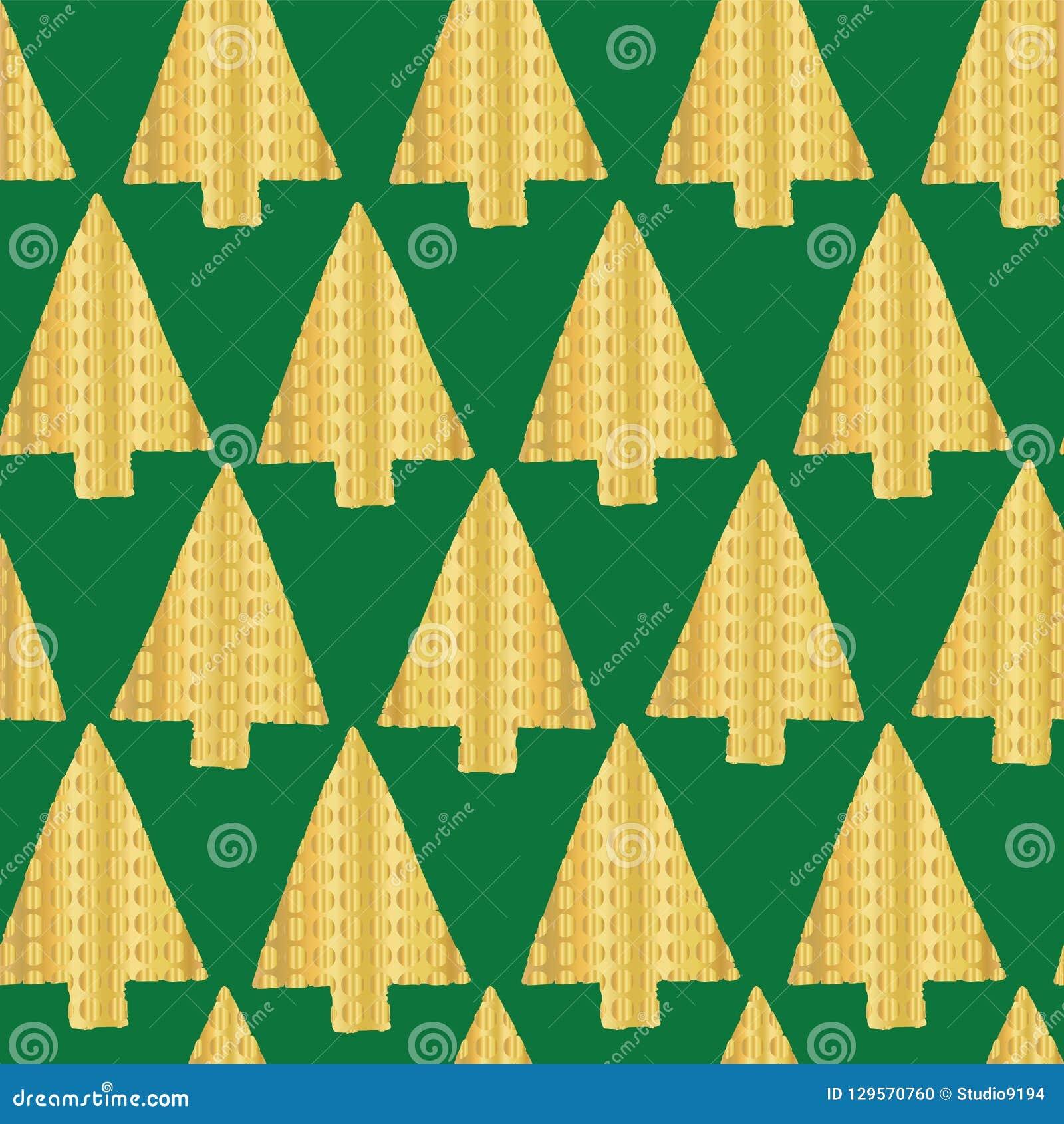 Contexto inconsútil del modelo del vector de la hoja de oro del árbol de navidad Árboles de navidad texturizados de oro brillante