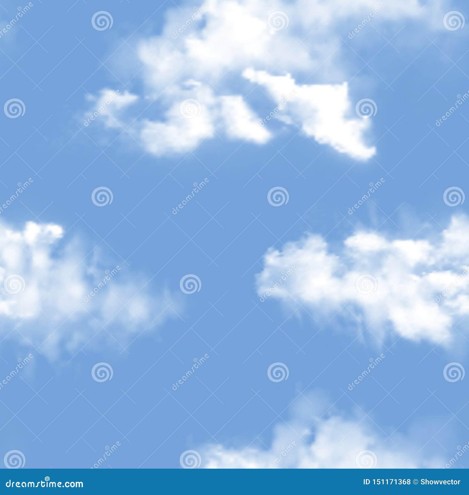 Contexto nublado del vector del modelo del cielo y sistema nublado azul del ejemplo del papel pintado del cielo del horizonte de