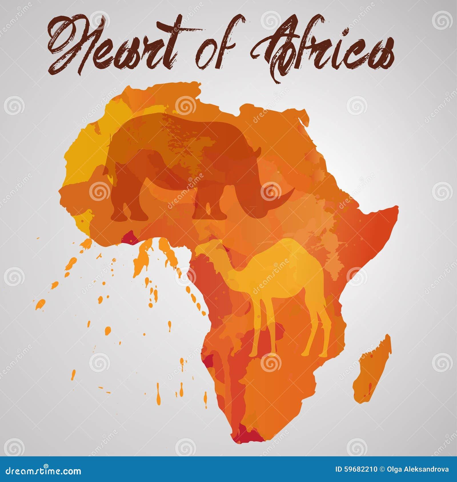 Couleur De L Afrique.Continent De L Afrique Avec L Eclaboussure De Couleur